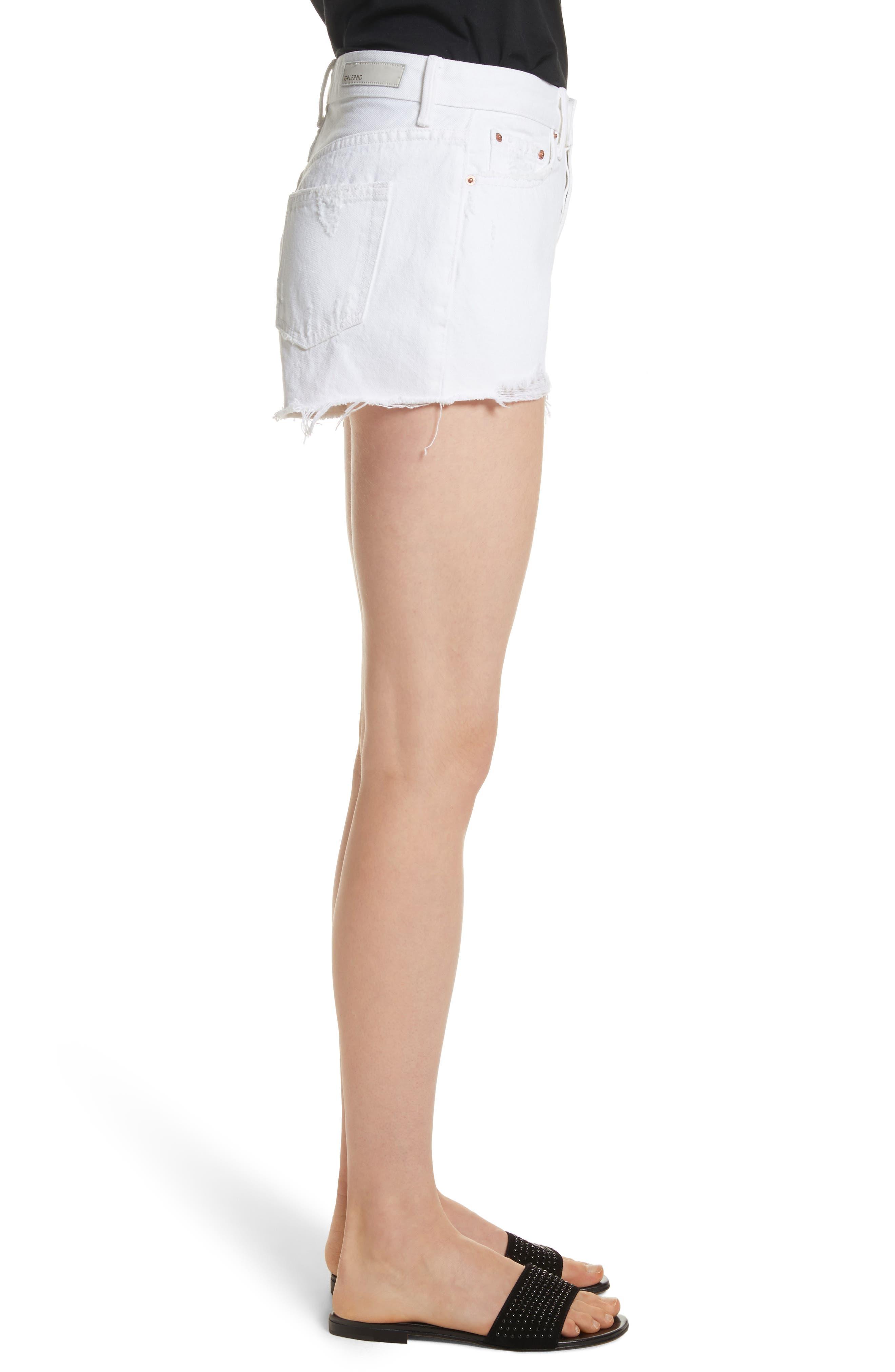 Cindy Rigid High Waist Denim Shorts,                             Alternate thumbnail 3, color,                             GRANADA