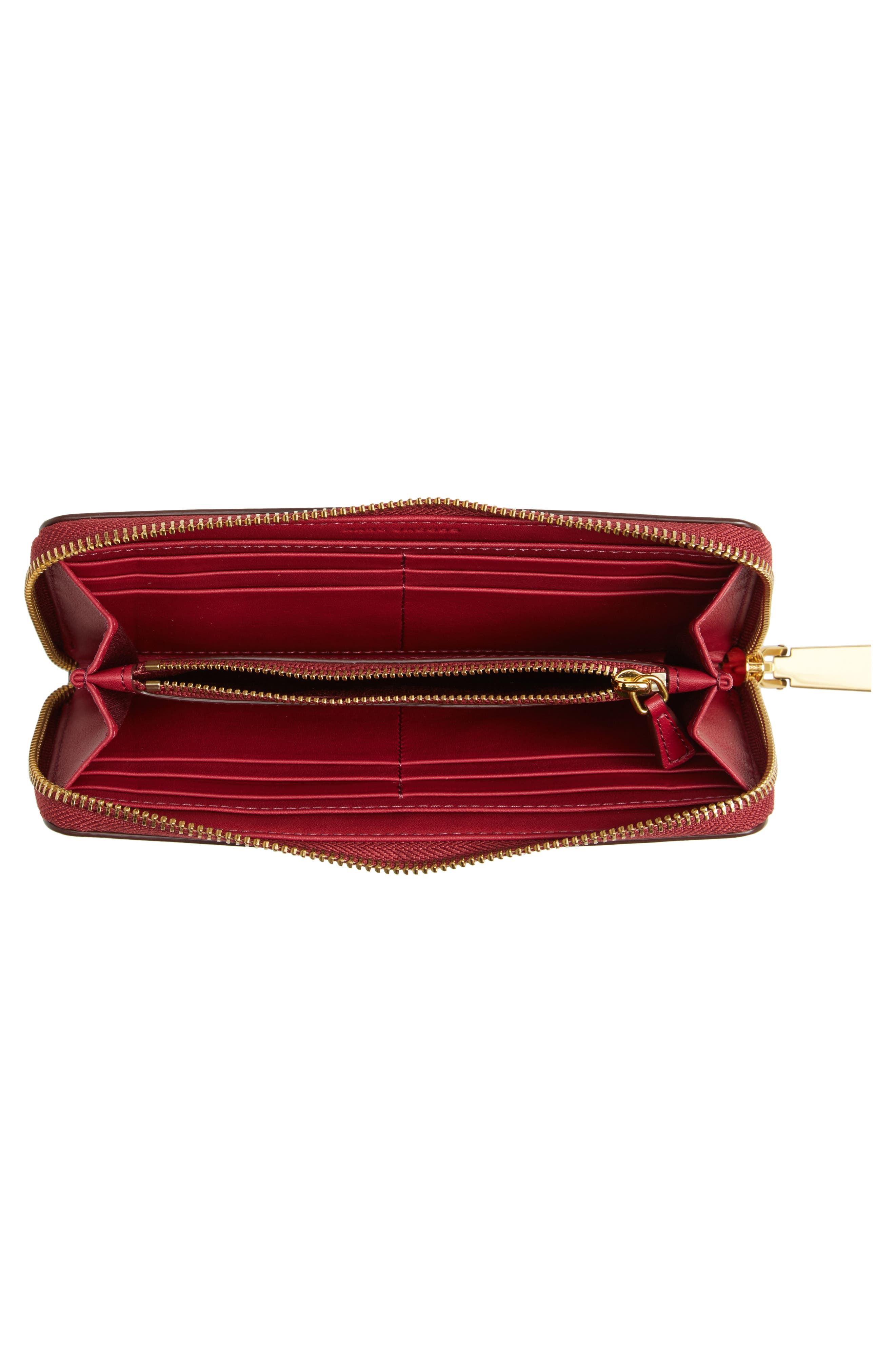Lips Saffiano Leather Zip Around Wallet,                             Alternate thumbnail 4, color,                             653