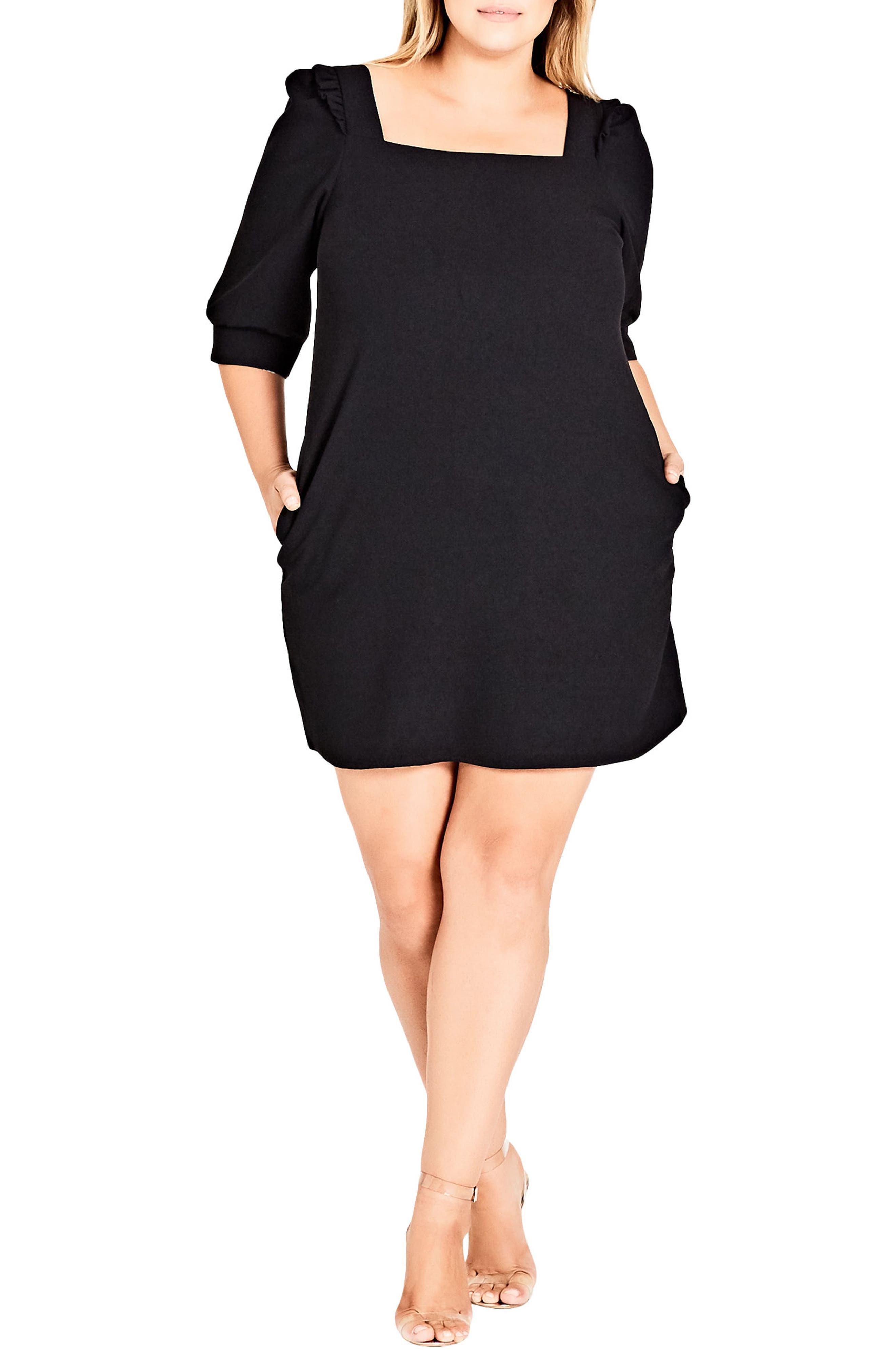Darling Square Neck Dress,                         Main,                         color, BLACK