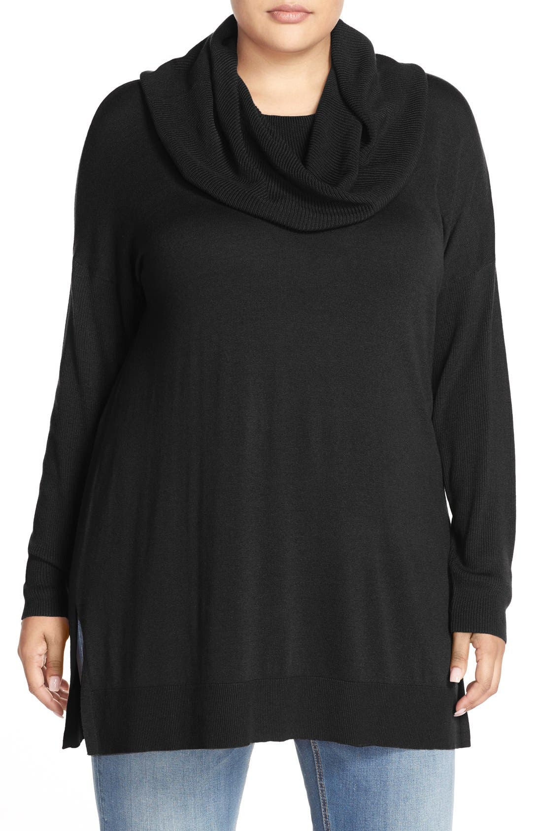 Cowl Neck Tunic Sweater,                         Main,                         color, BLACK