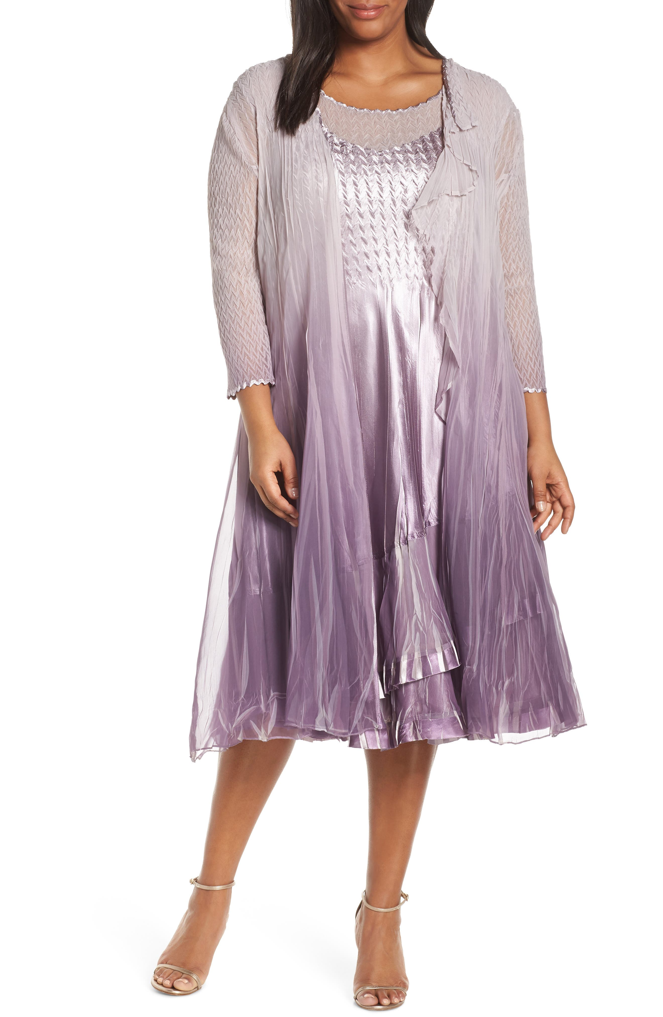 Plus Size Komorav Charmeuse & Chiffon Dress With Cascade Jacket, Purple
