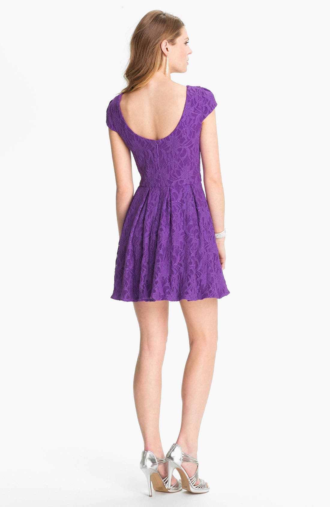 HAILEY BY ADRIANNA PAPELL,                             Lace Fit & Flare Dress,                             Alternate thumbnail 3, color,                             500