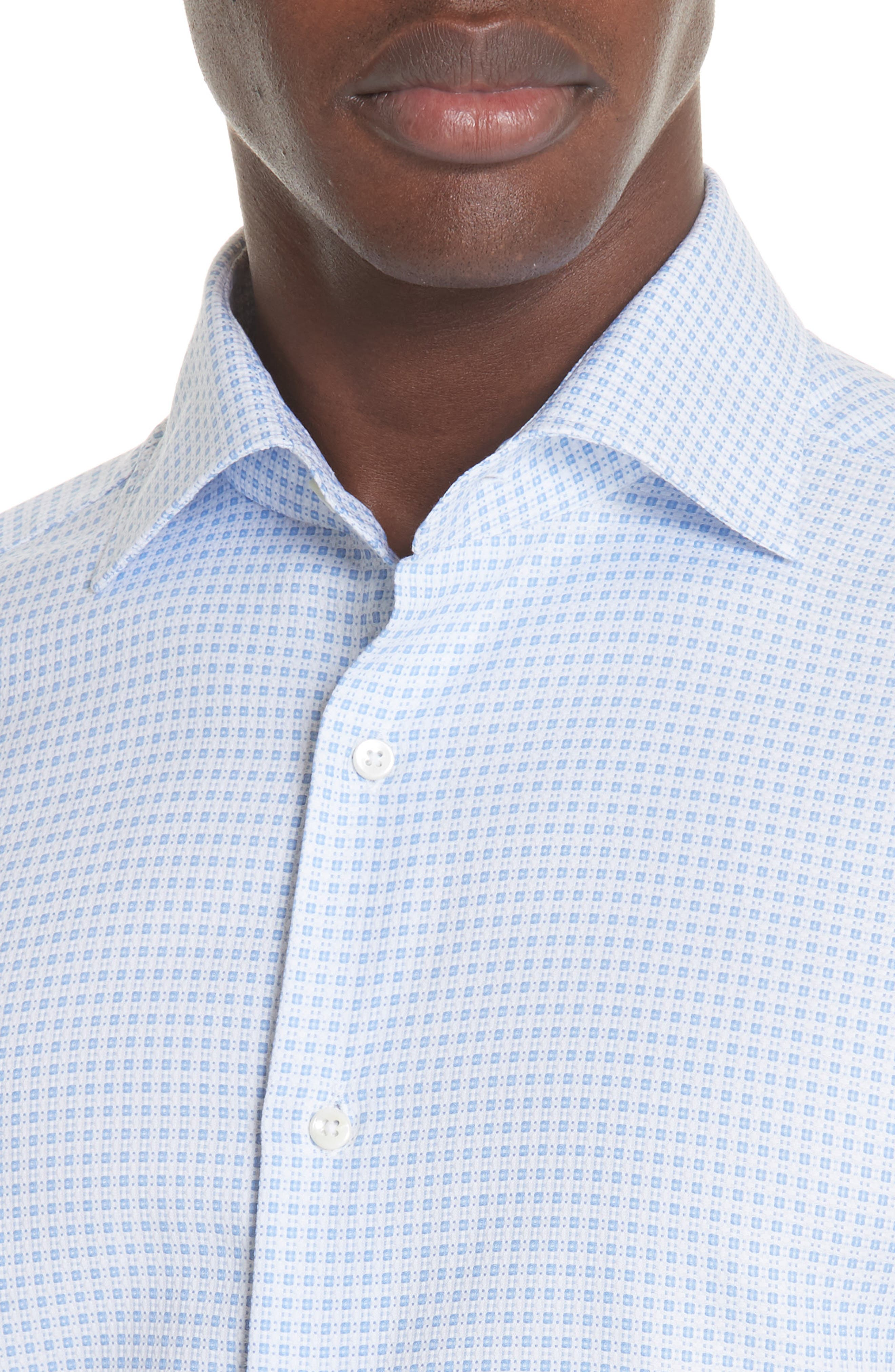 Trim Fit Check Dress Shirt,                             Alternate thumbnail 2, color,                             BRIGHT BLUE