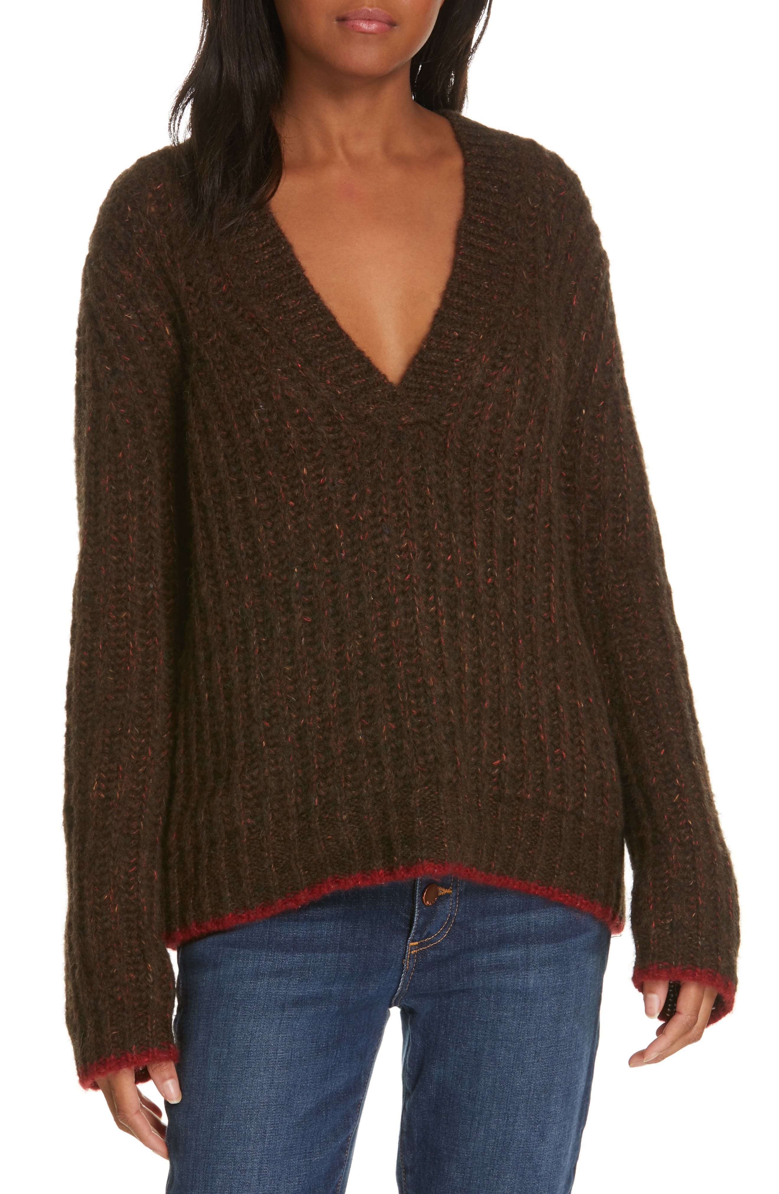 Oversize V-Neck Sweater, Main, color, BROWN / RED