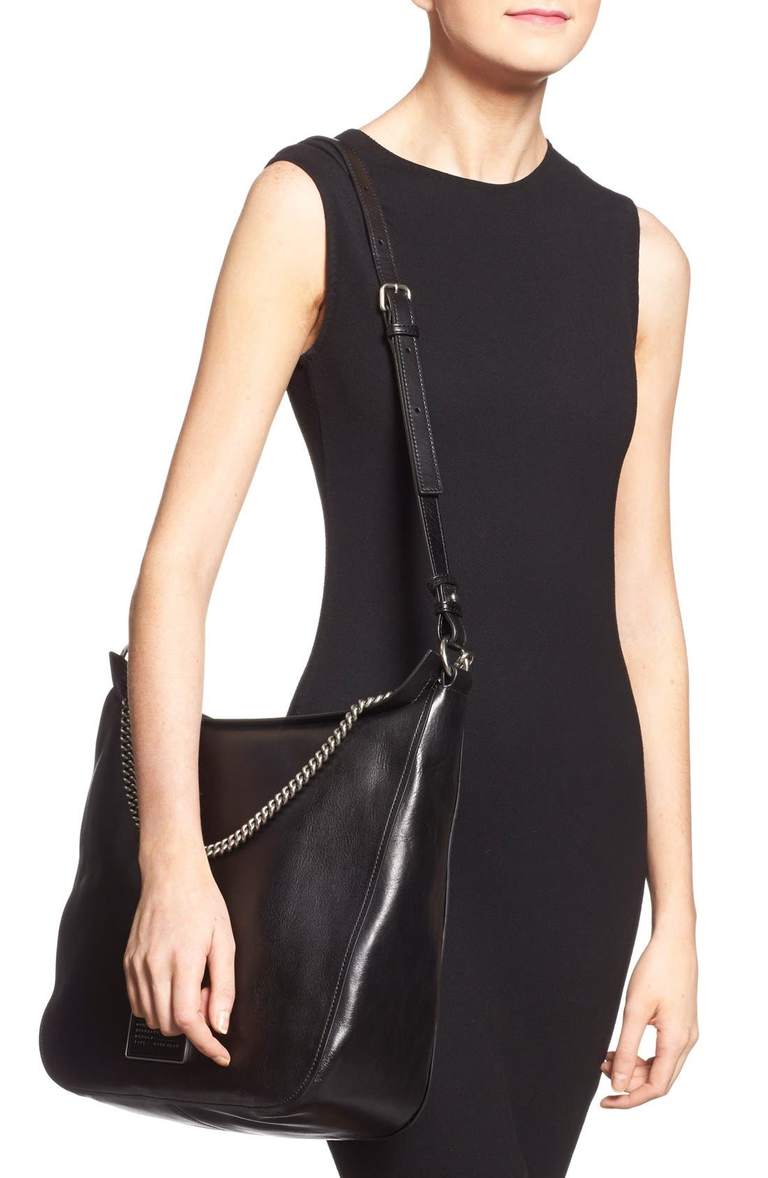 MARC BY MARC JACOBS 'Top of the Chain' Leather Hobo,                             Alternate thumbnail 3, color,                             001