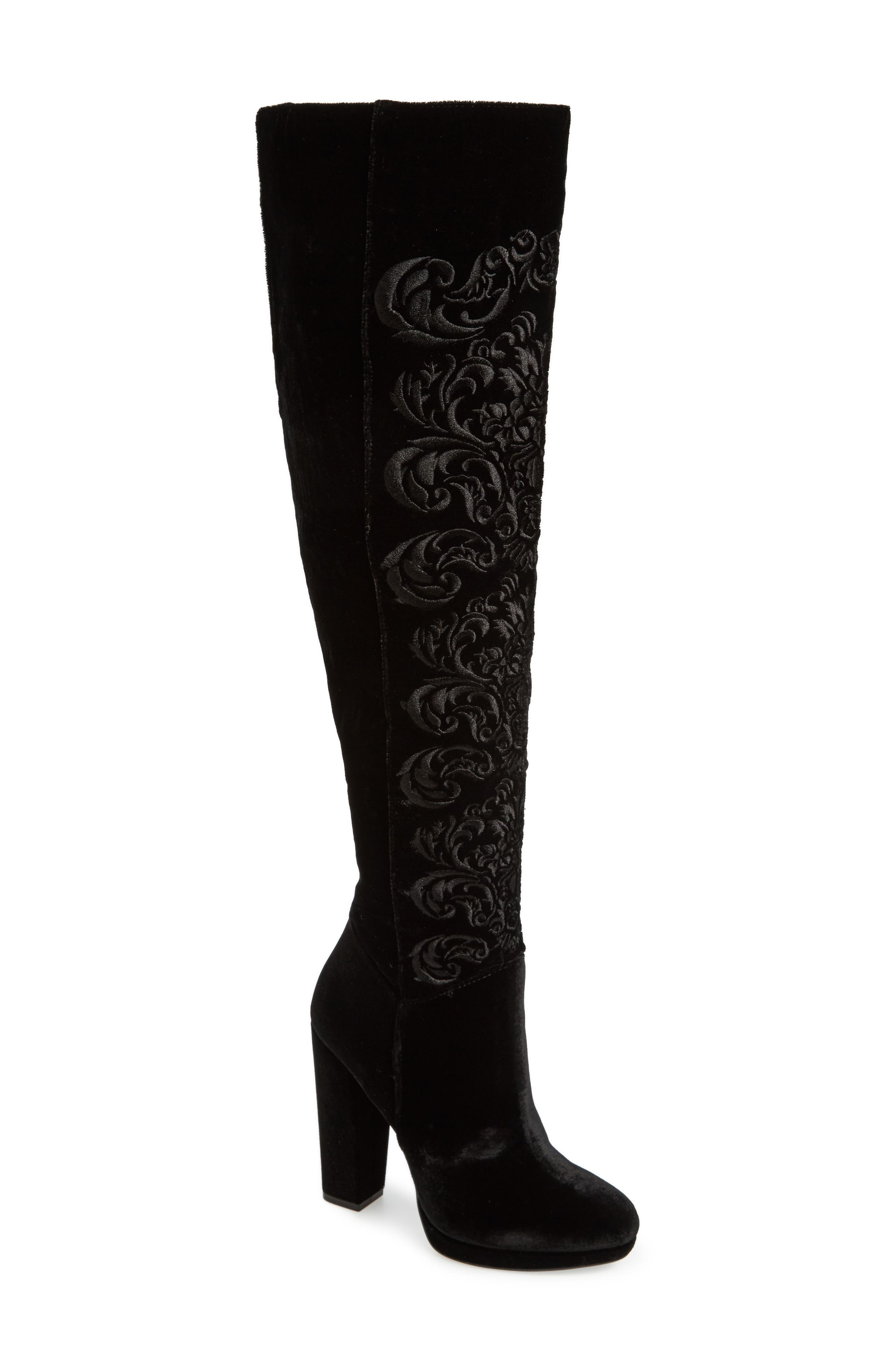 Grizella Embroidered Over the Knee Boot,                             Main thumbnail 1, color,                             001