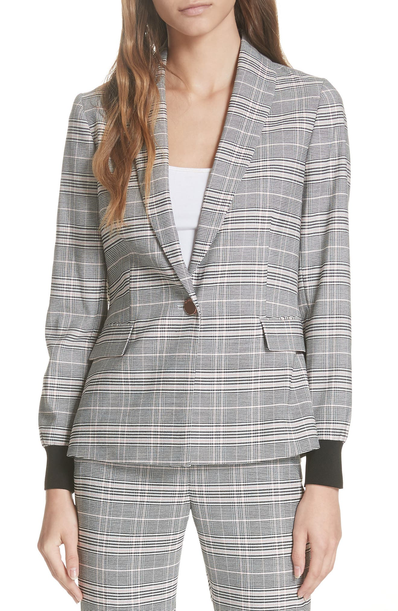 Ted Working Title Kimm Contract Cuff Check Blazer,                         Main,                         color, GREY