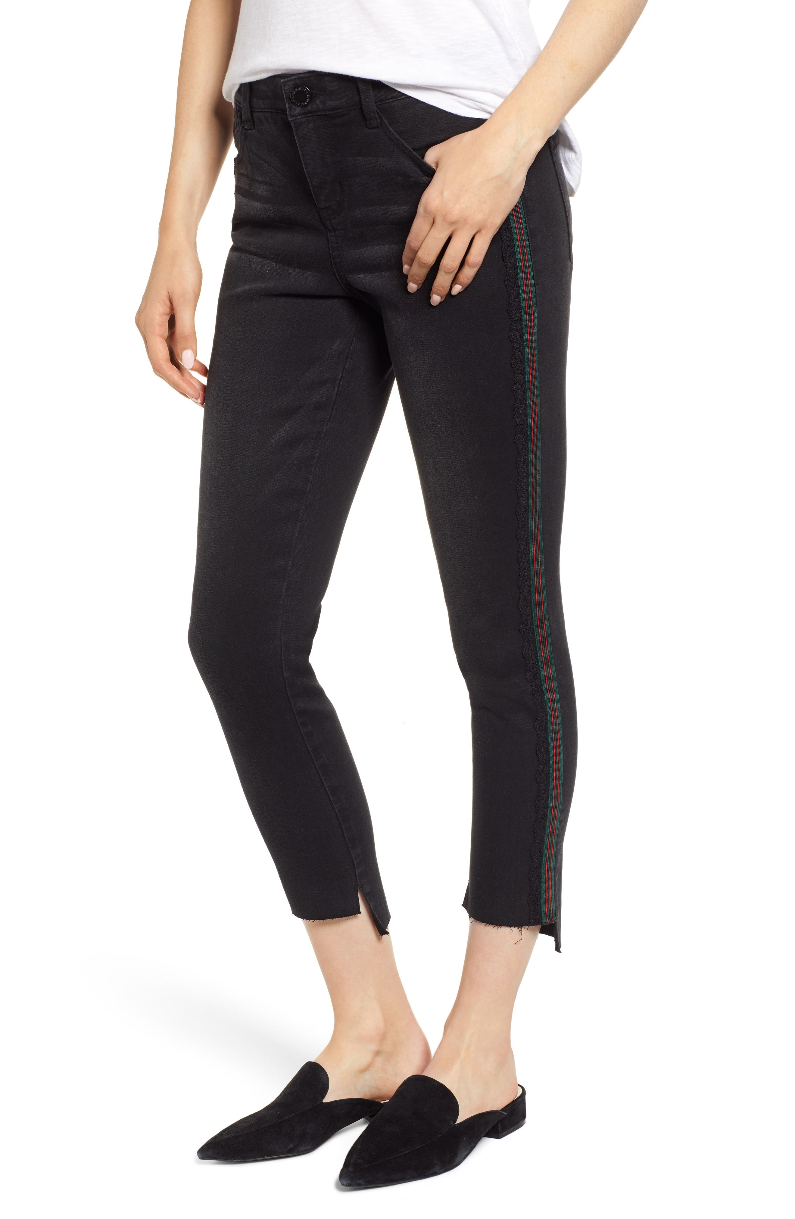 Ab-Solution Stripe High Waist Ankle Skinny Jeans,                         Main,                         color, BLACK