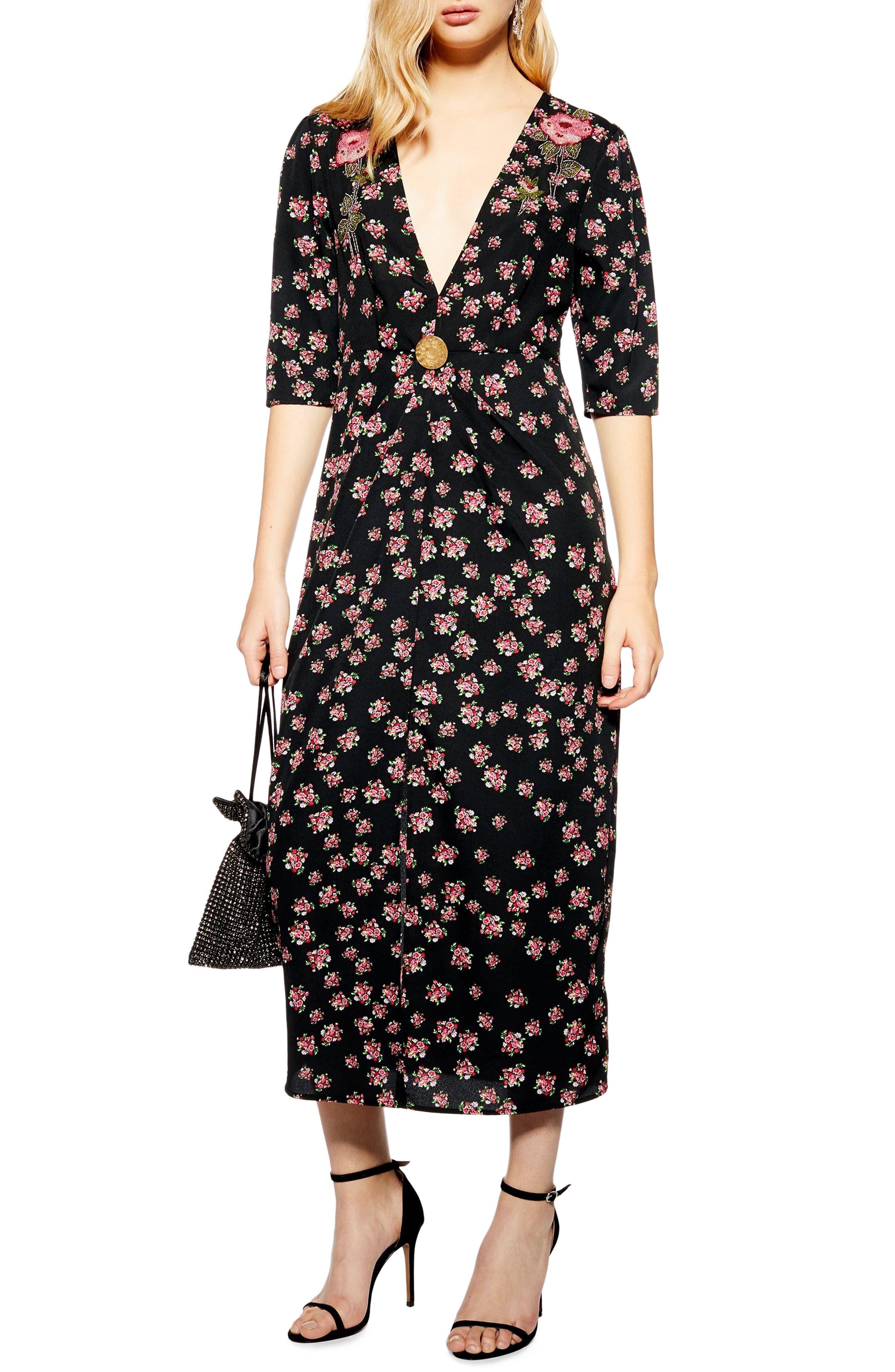 Topshop Embellished Floral Midi Dress, US (fits like 0) - Black