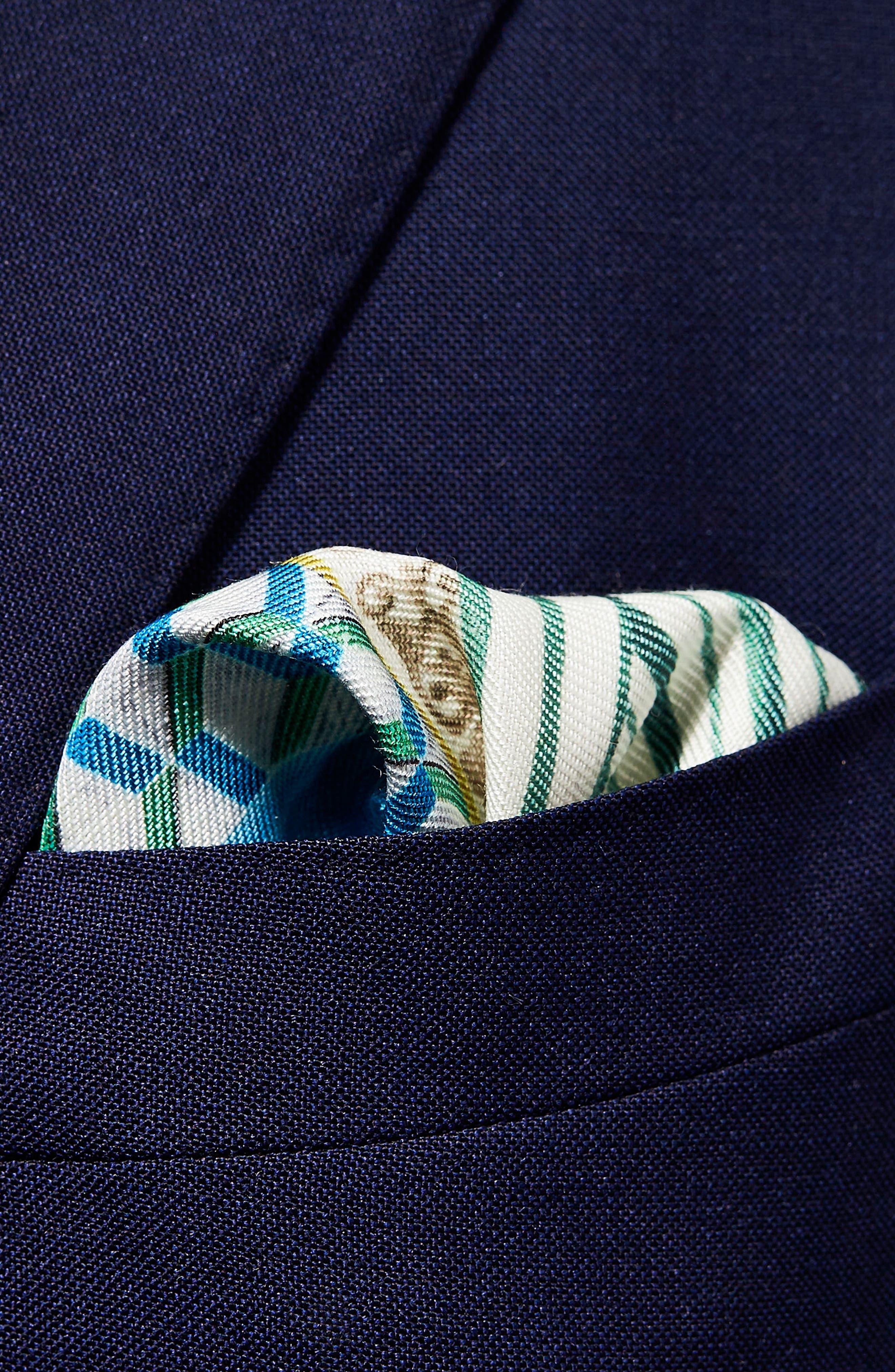 Geometric Linen & Silk Pocket Square,                             Alternate thumbnail 3, color,