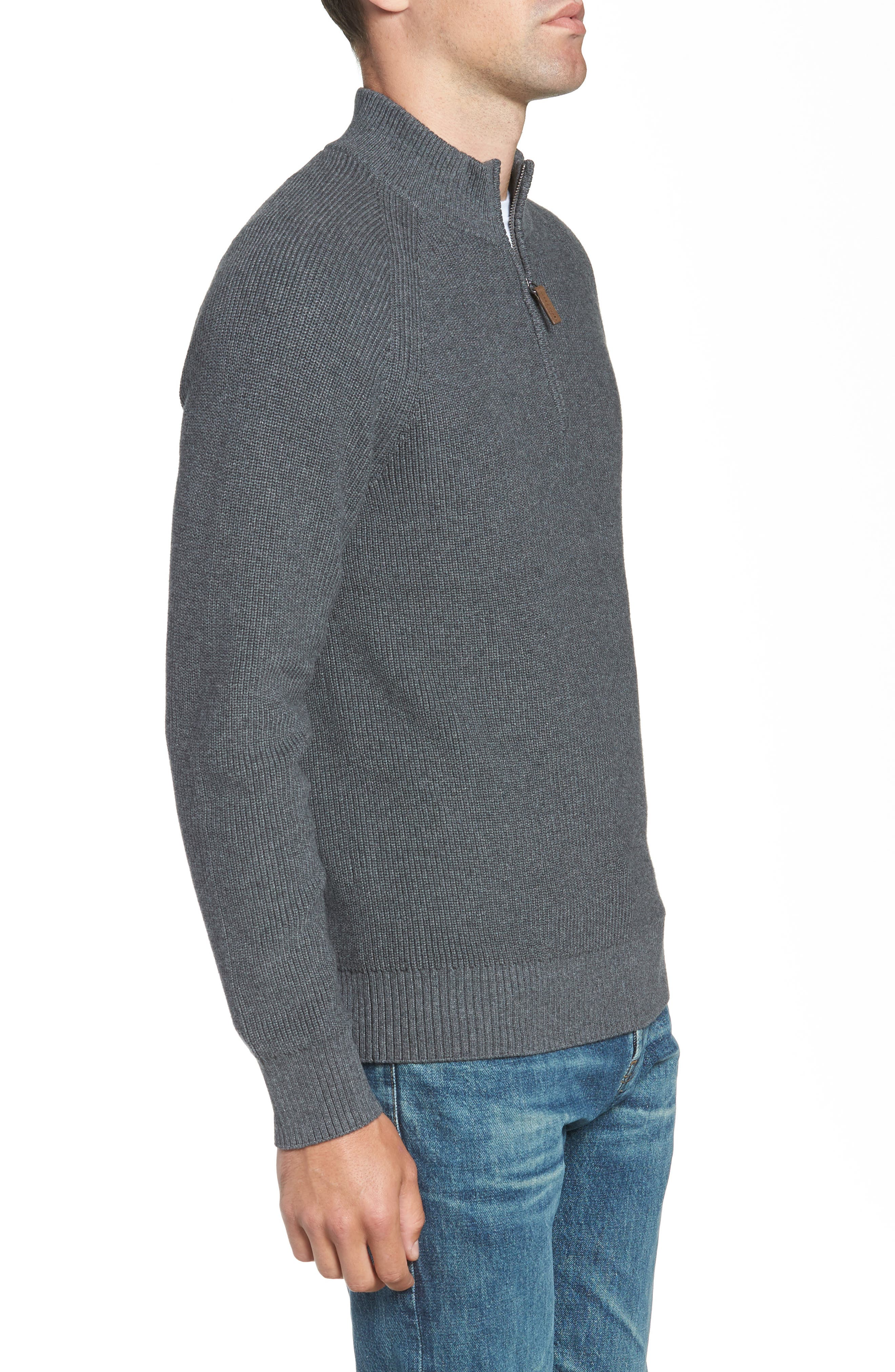 Ribbed Quarter Zip Sweater,                             Alternate thumbnail 3, color,                             GREY CASTLEROCK