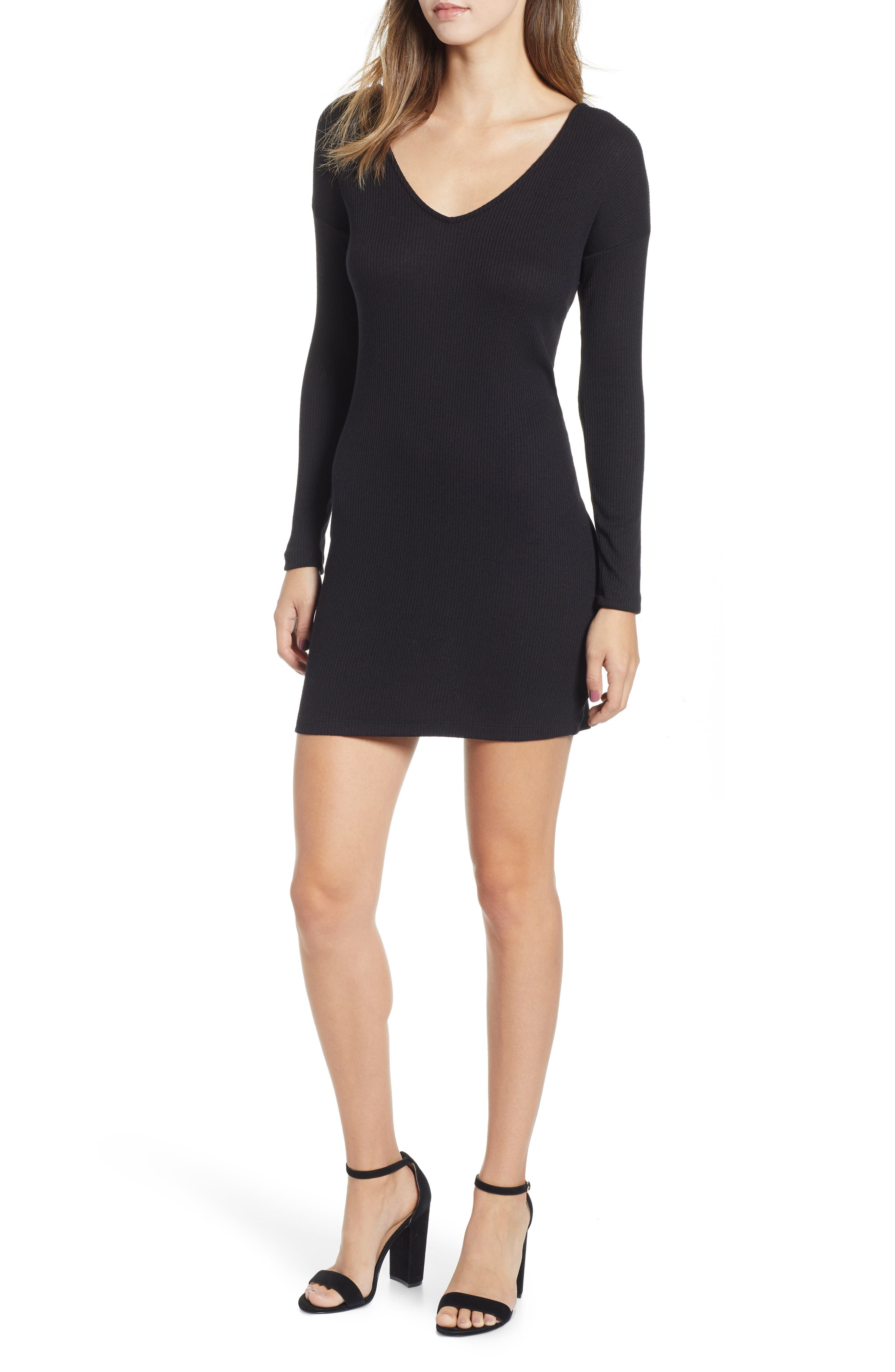 Socialite Twist Back Ribbed Dress, Black