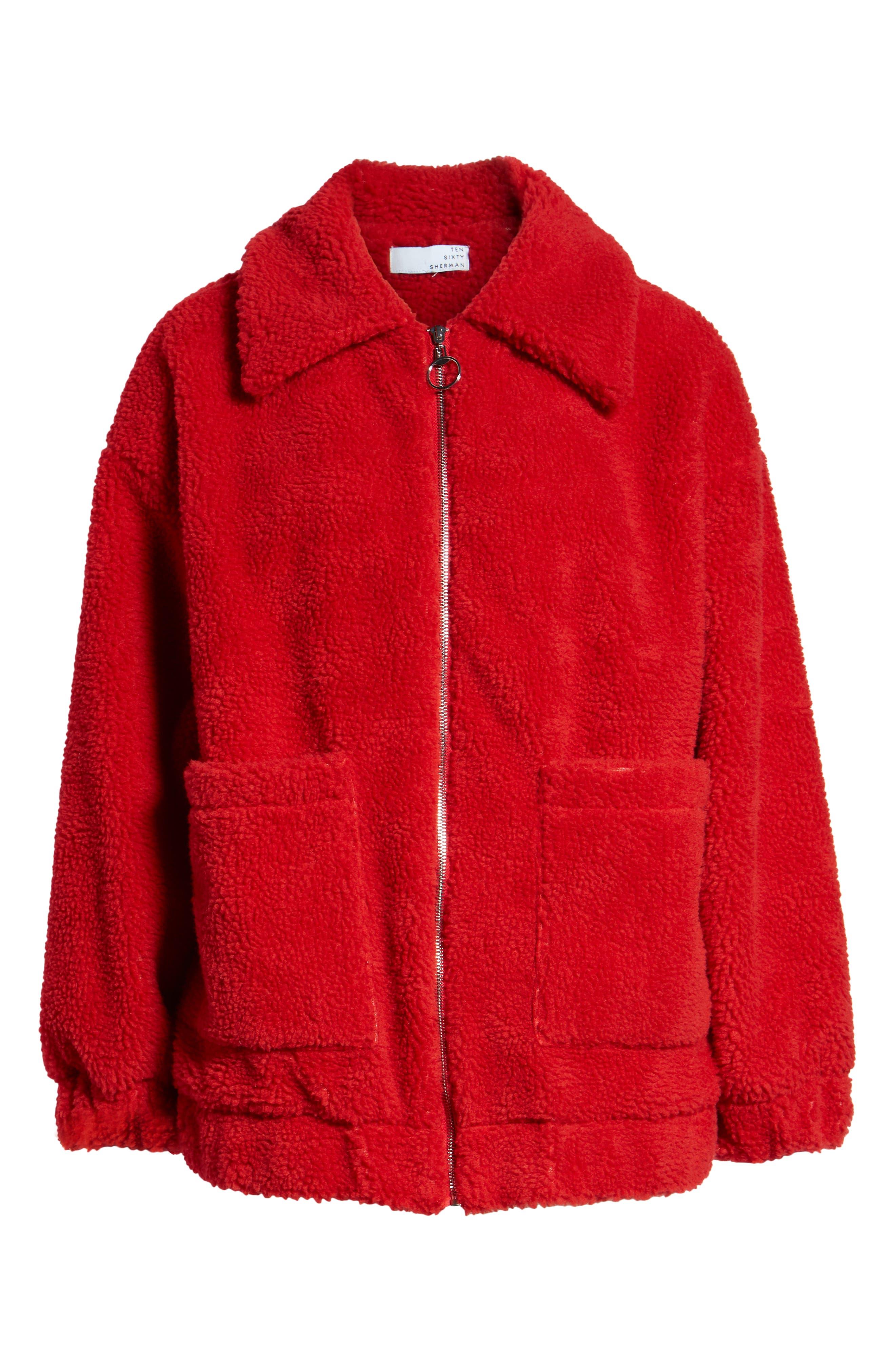 Oversized Fleece Jacket,                             Alternate thumbnail 6, color,                             RED