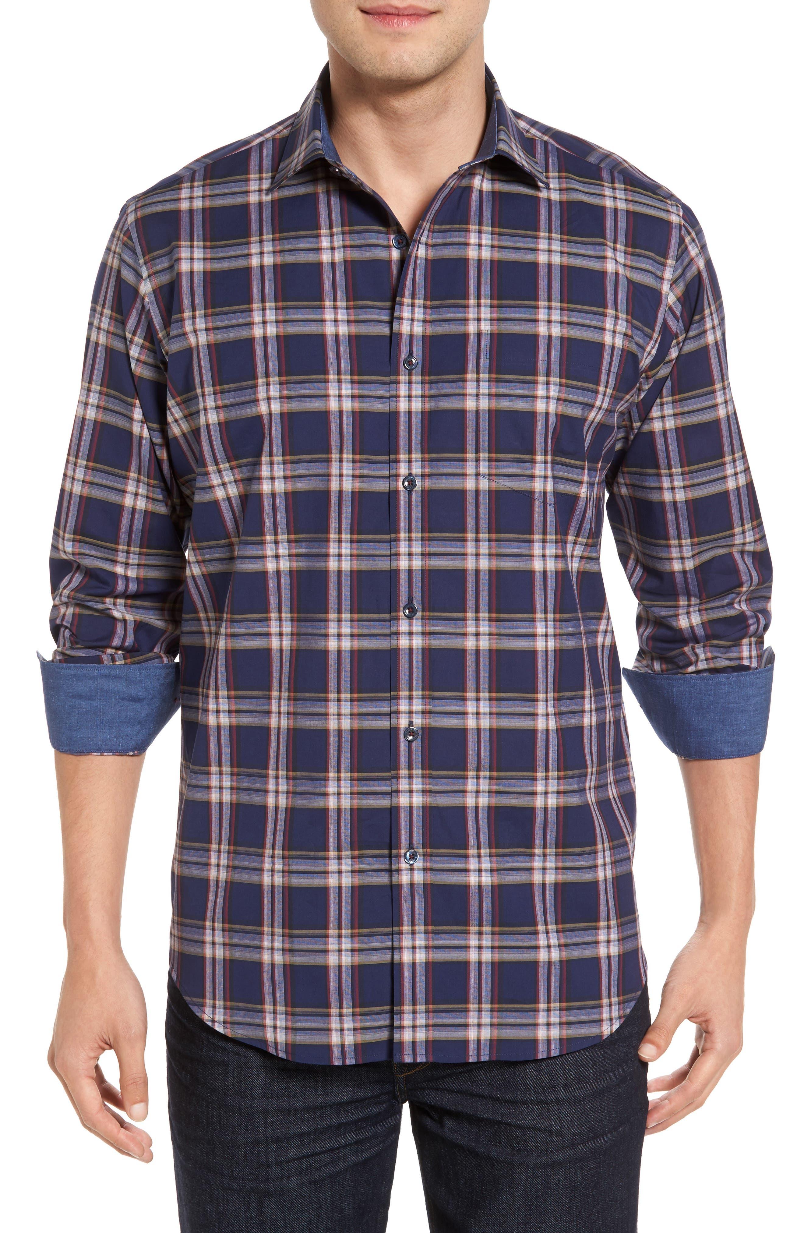 Classic Fit Plaid Sport Shirt,                         Main,                         color, 411