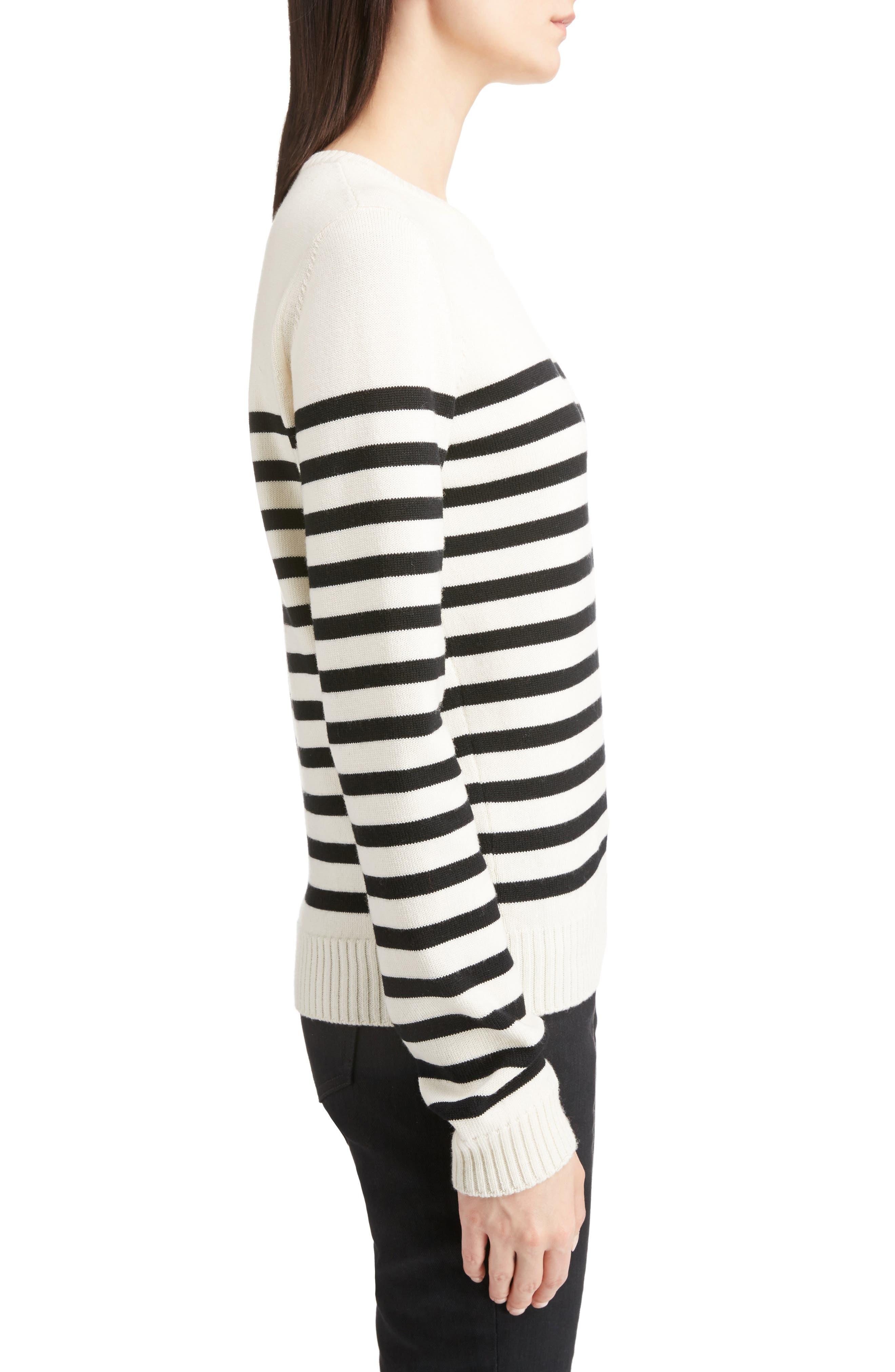 Button Detail Stripe Sweater,                             Alternate thumbnail 3, color,                             100