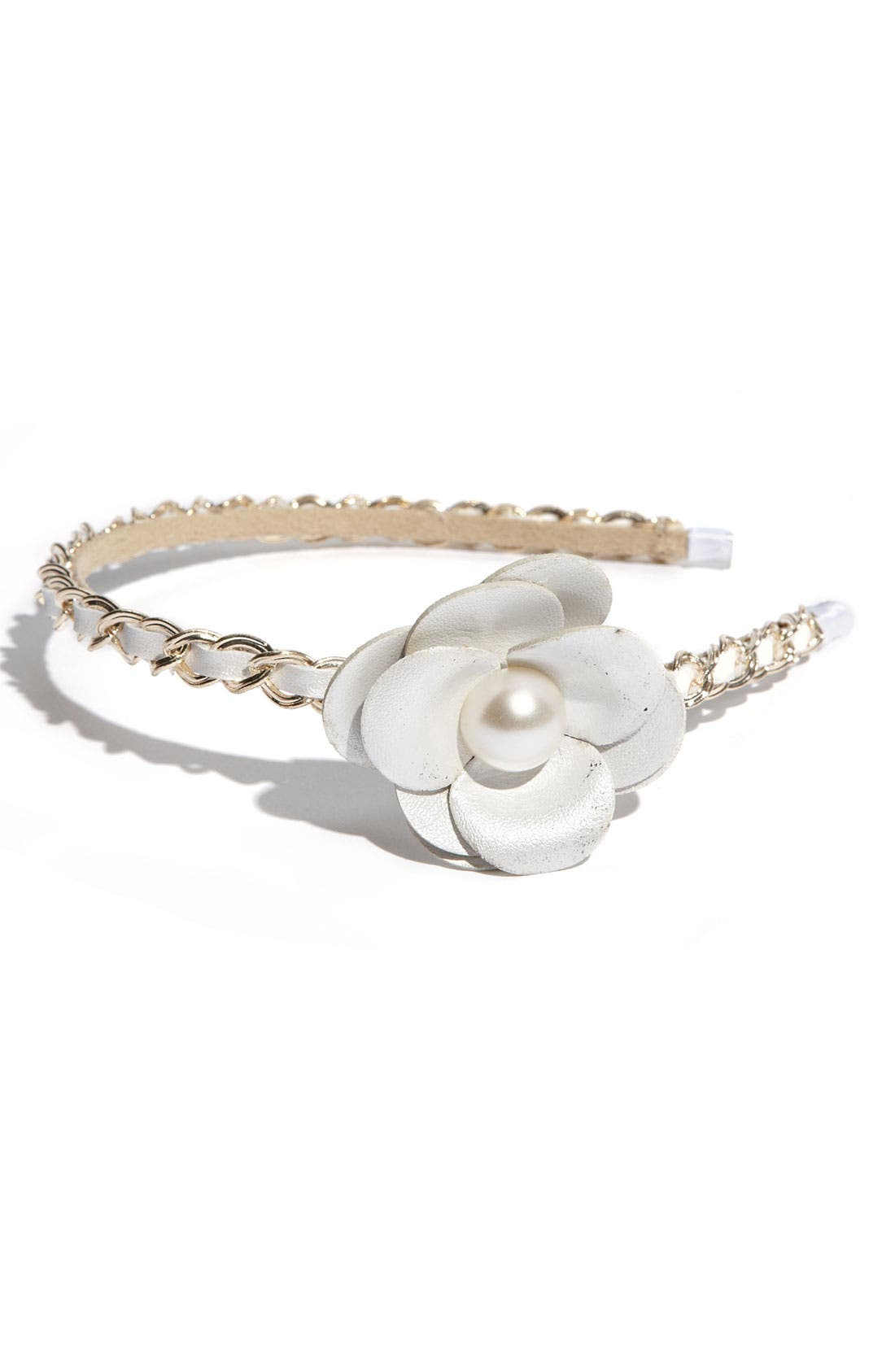 'Chic' Leather Flower Headband,                             Main thumbnail 2, color,