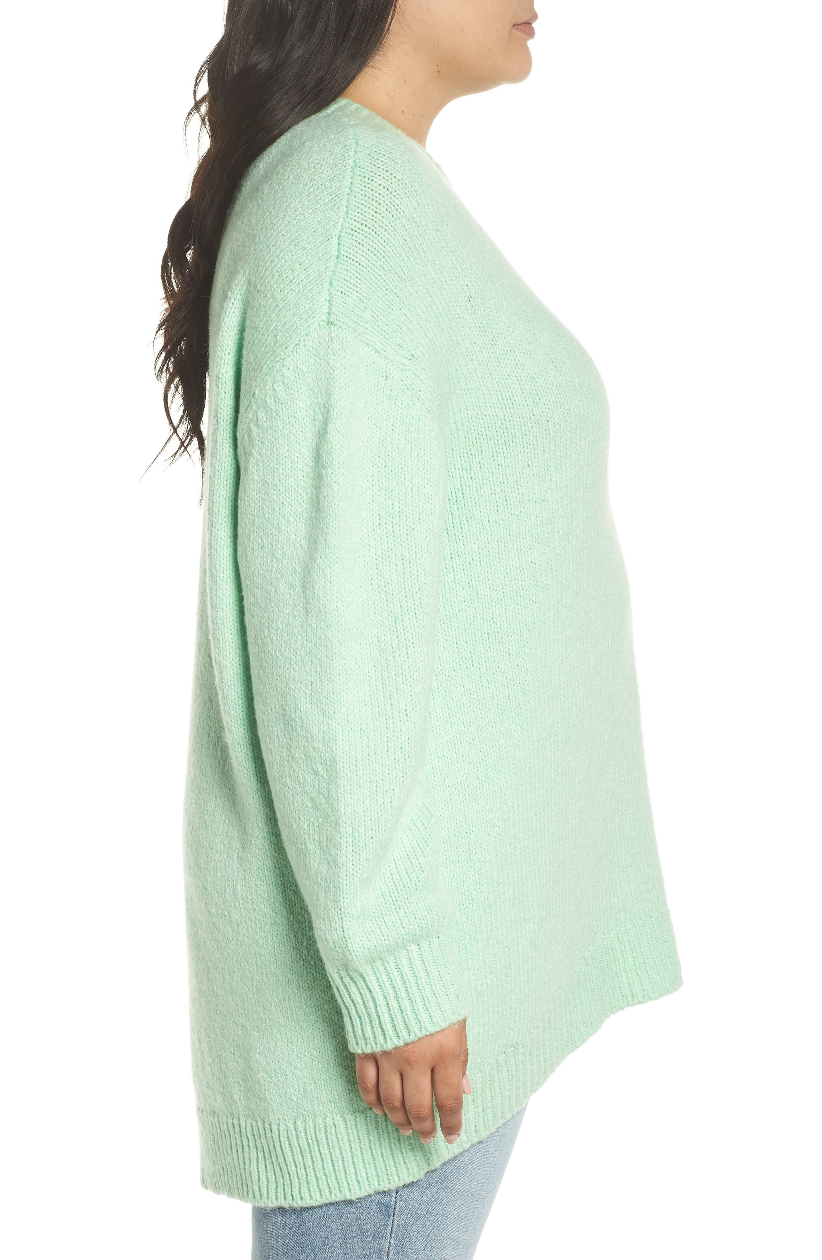High-Low Sweater,                             Alternate thumbnail 9, color,                             GREEN ASH