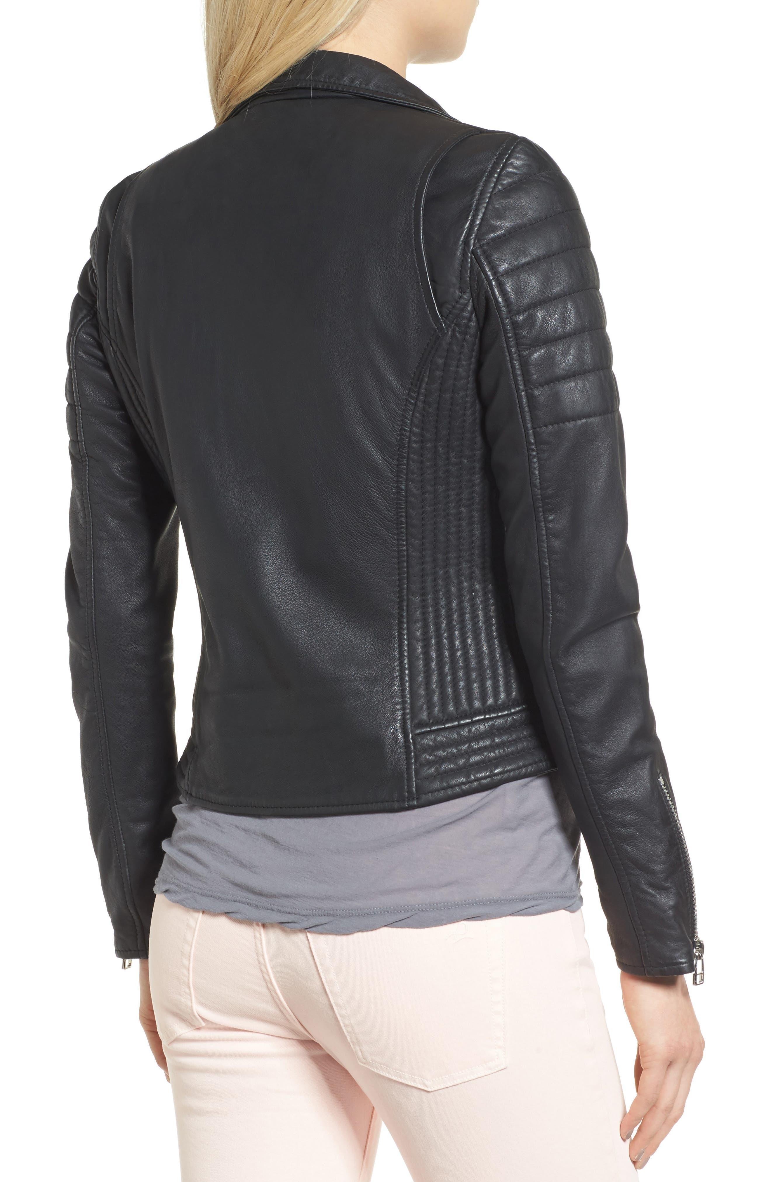 Dual Zip Leather Biker Jacket,                             Alternate thumbnail 2, color,
