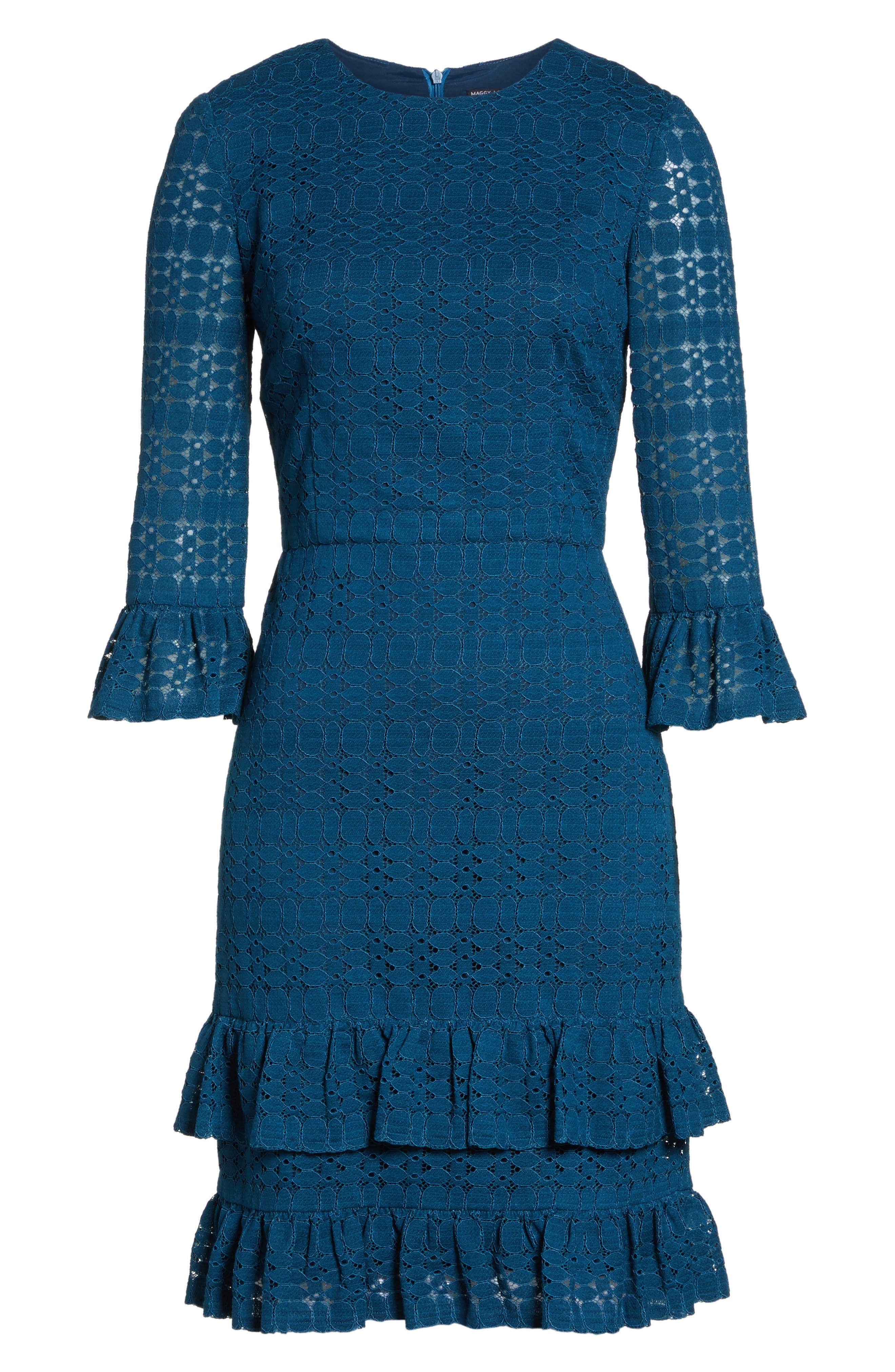 Ruffle Lace Sheath Dress,                             Alternate thumbnail 6, color,                             458