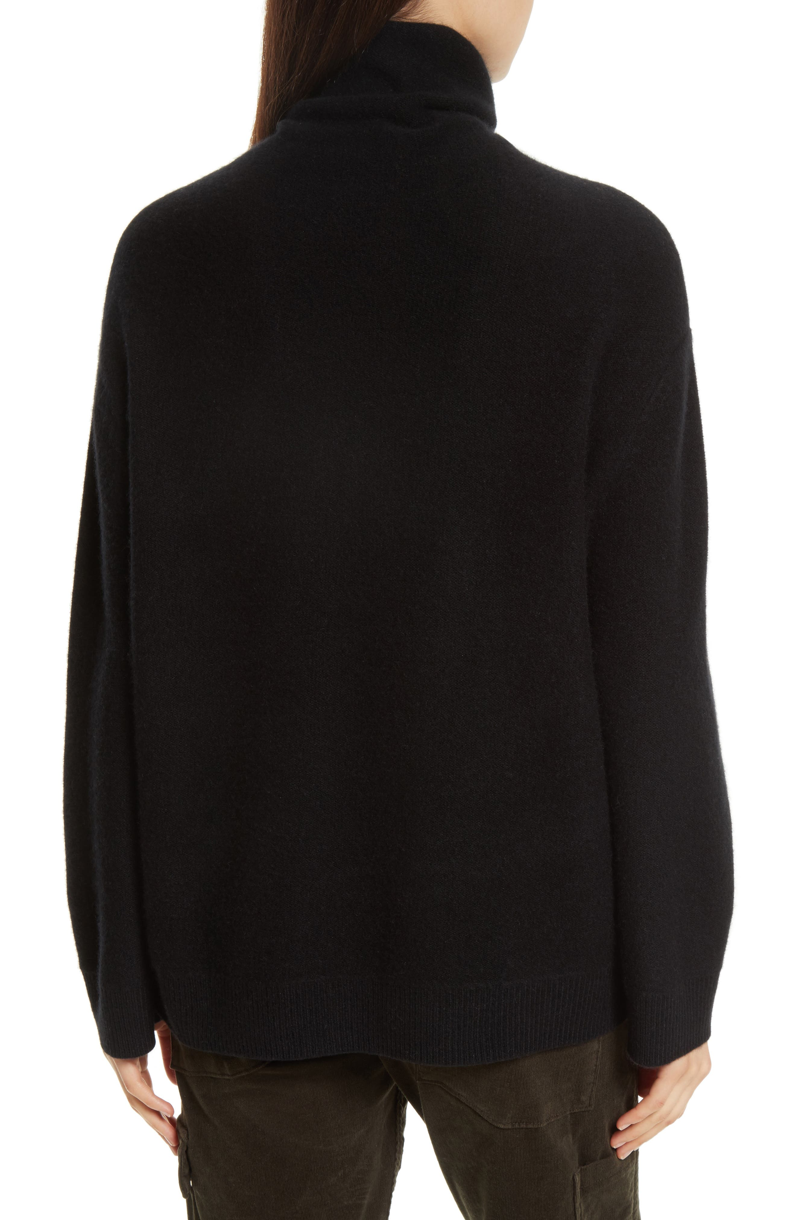 Boxy Mock Neck Cashmere Sweater,                             Alternate thumbnail 2, color,                             001