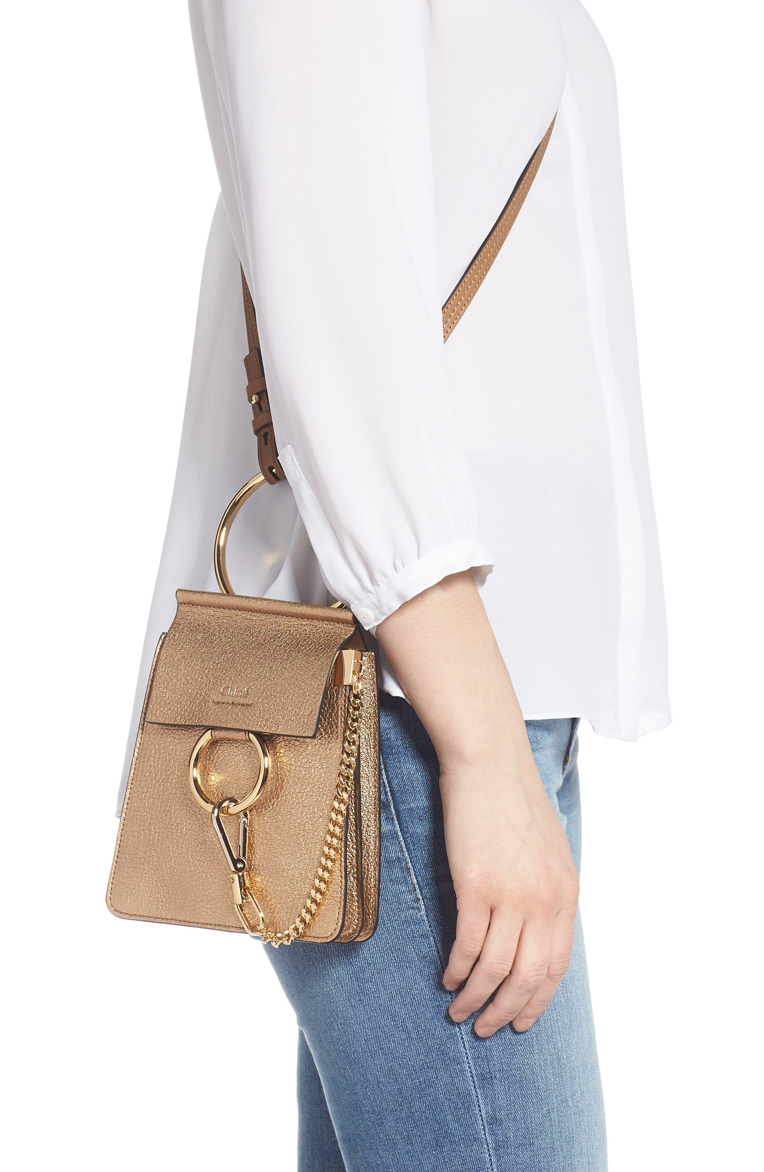 Faye Small Metallic Leather Bracelet Bag,                             Alternate thumbnail 2, color,                             GOLD