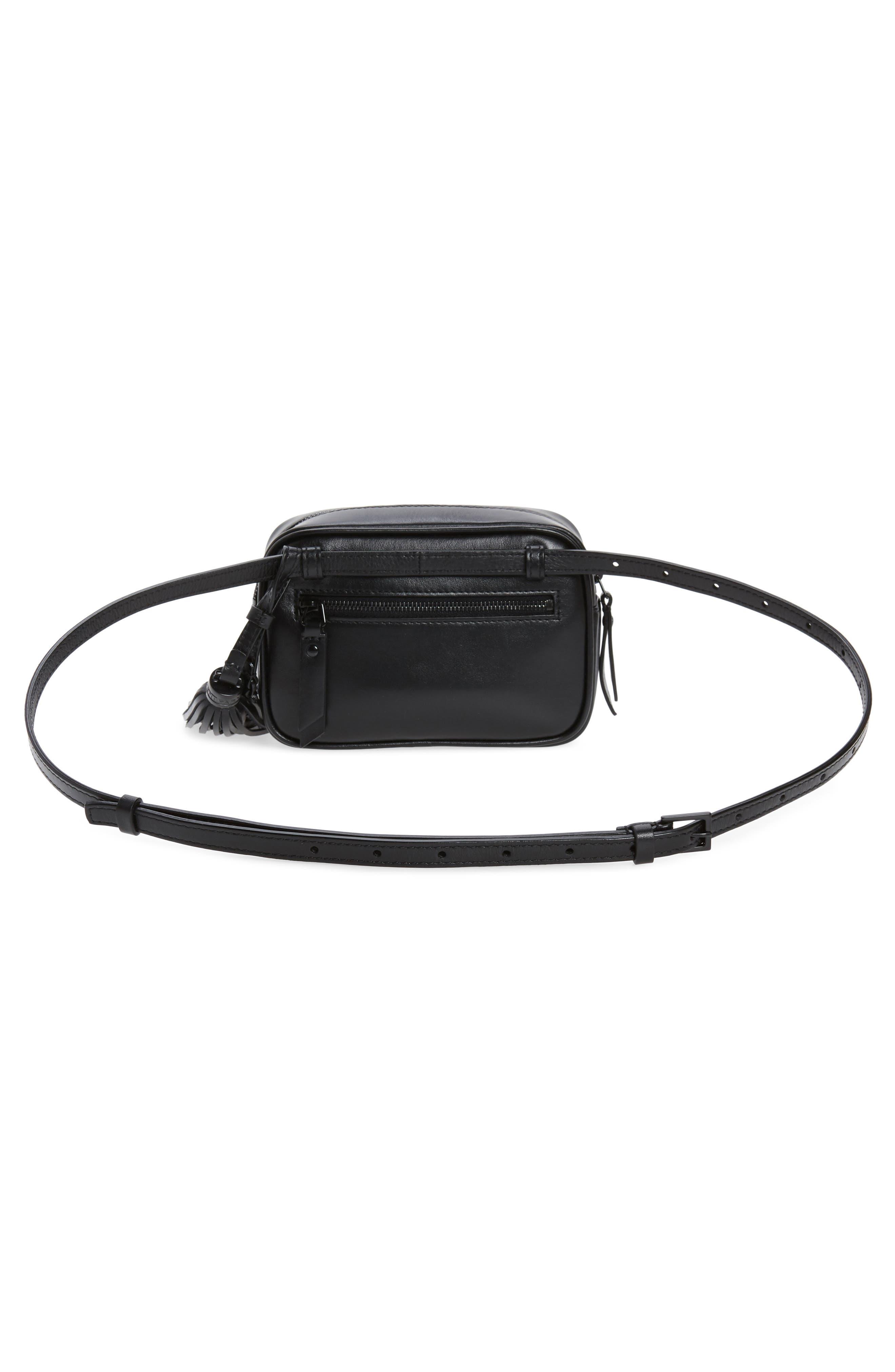 Lou Matelassé Leather Belt Bag,                             Alternate thumbnail 4, color,                             NOIR