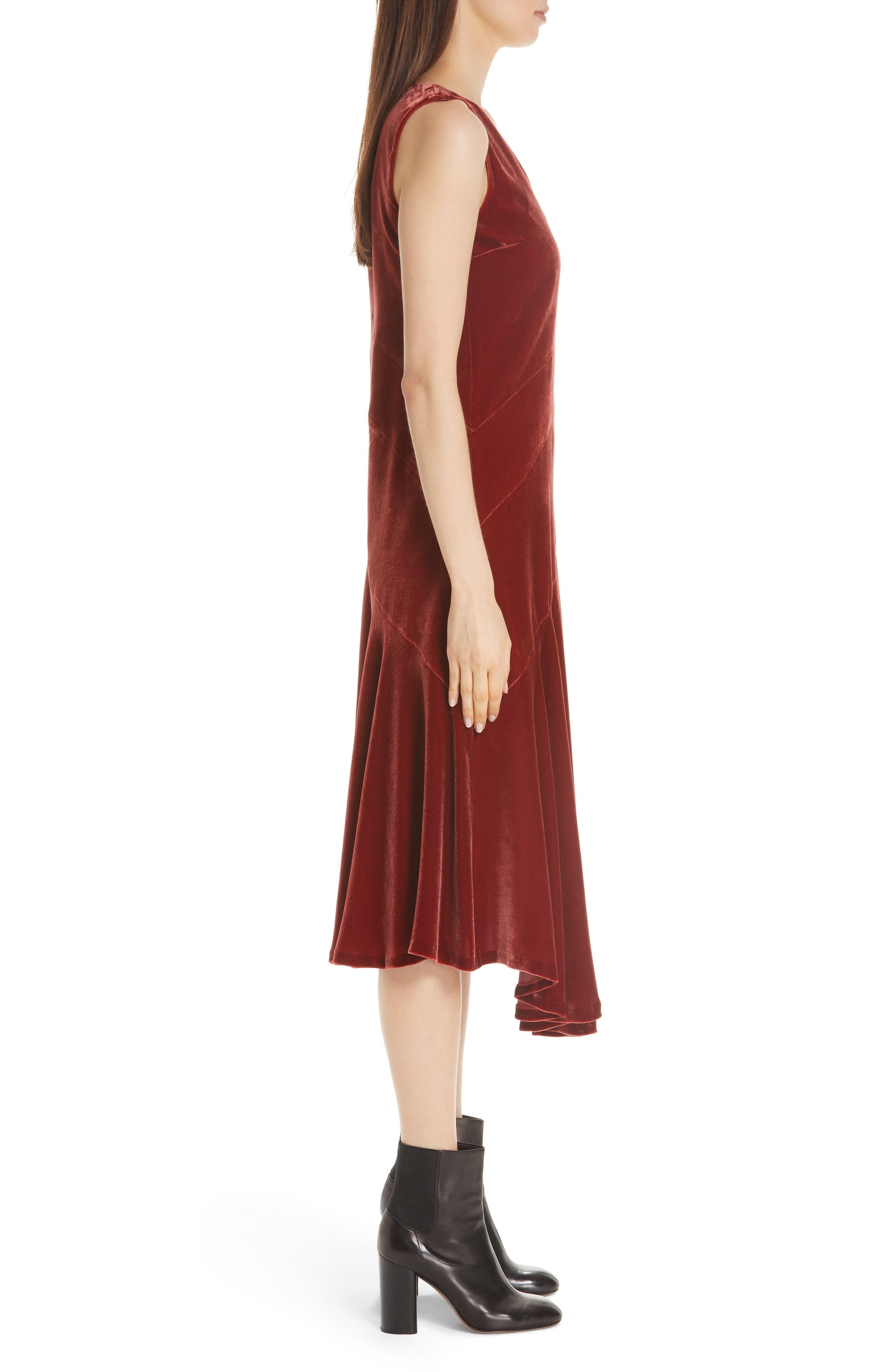 Ashlena Asymmetrical Velvet Dress,                             Alternate thumbnail 3, color,                             SAFFRON