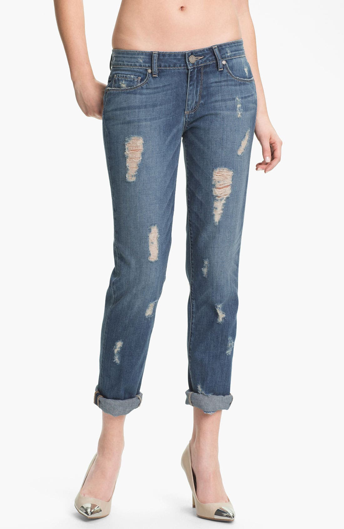 Denim 'Jimmy Jimmy' Distressed Skinny Jeans,                             Main thumbnail 1, color,