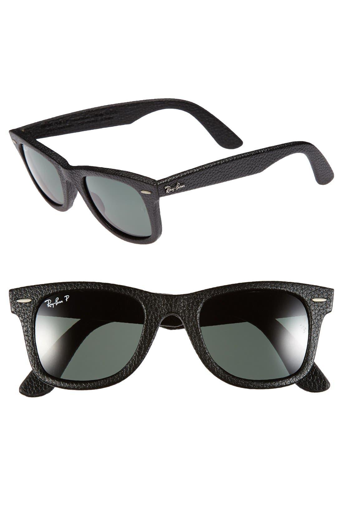 'Wayfarer' 50mm Polarized Leather Sunglasses,                         Main,                         color, 001