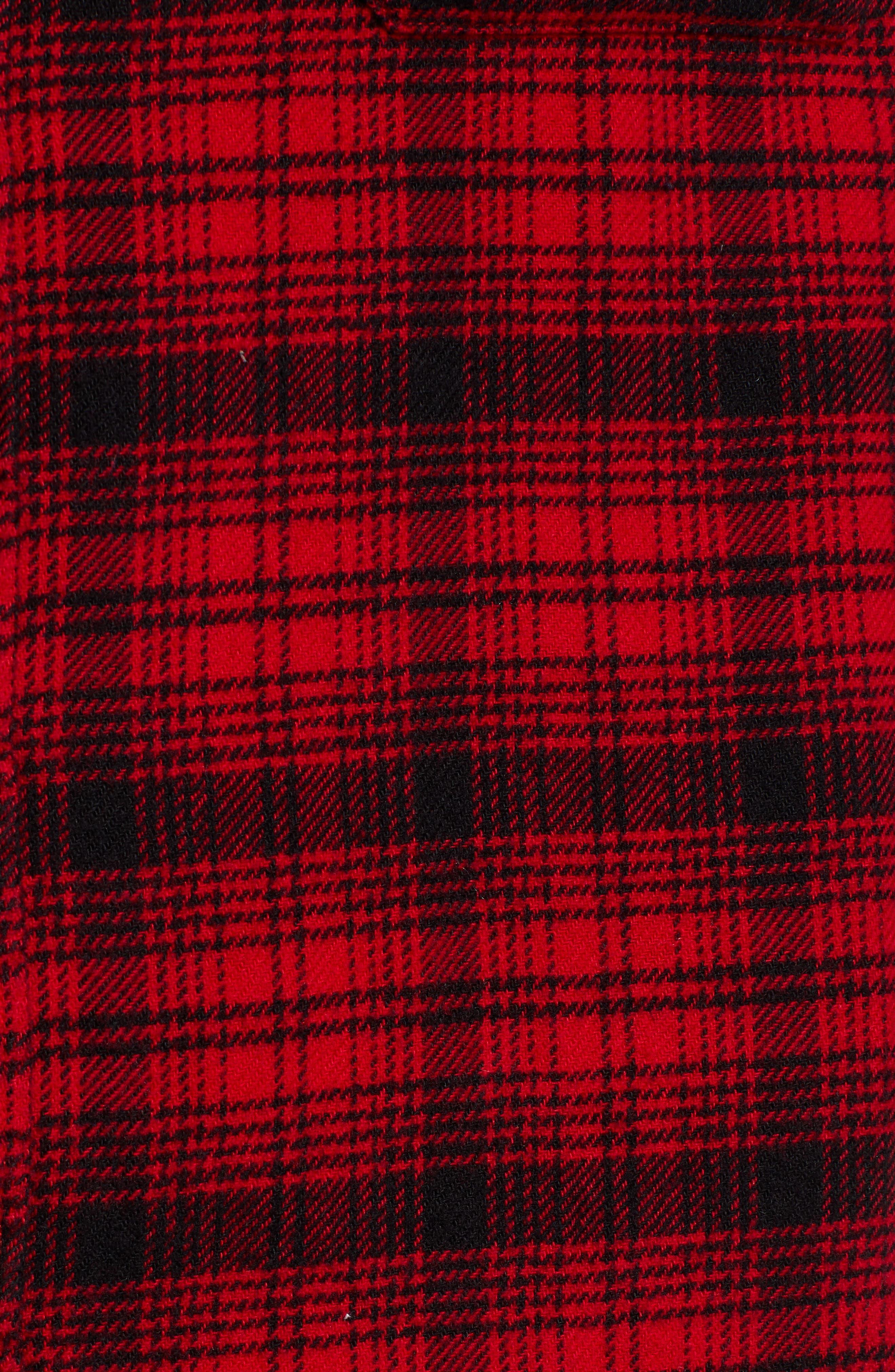 x Justin Timberlake Hooded Flannel Worker Shirt,                             Alternate thumbnail 6, color,                             SERVAL CRIMSON