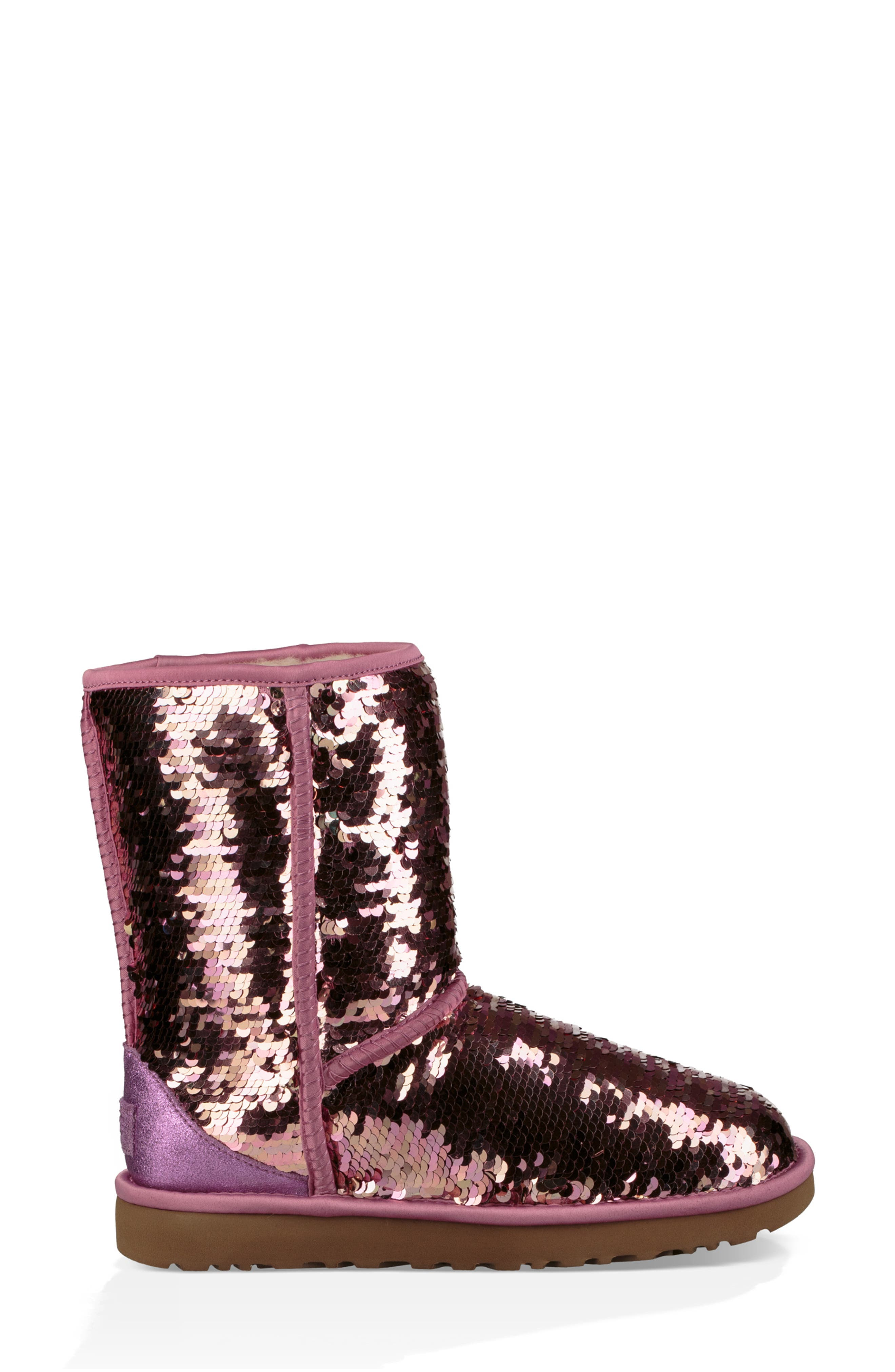 UGG<SUP>®</SUP>,                             Classic Short Sequin Boot,                             Alternate thumbnail 6, color,                             PINK