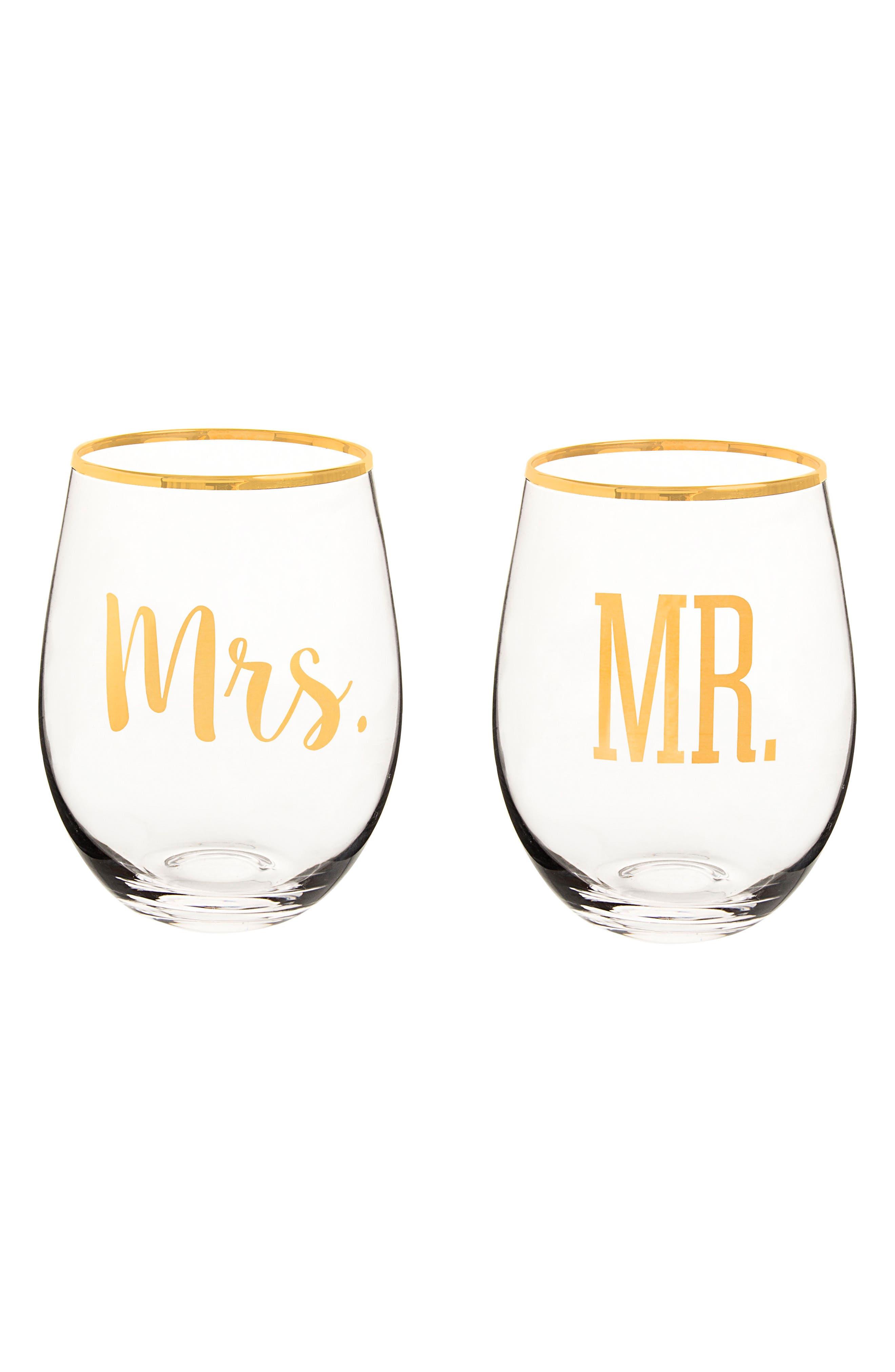 Mr. & Mrs. Set of 2 Stemless Wine Glasses,                             Main thumbnail 1, color,                             710
