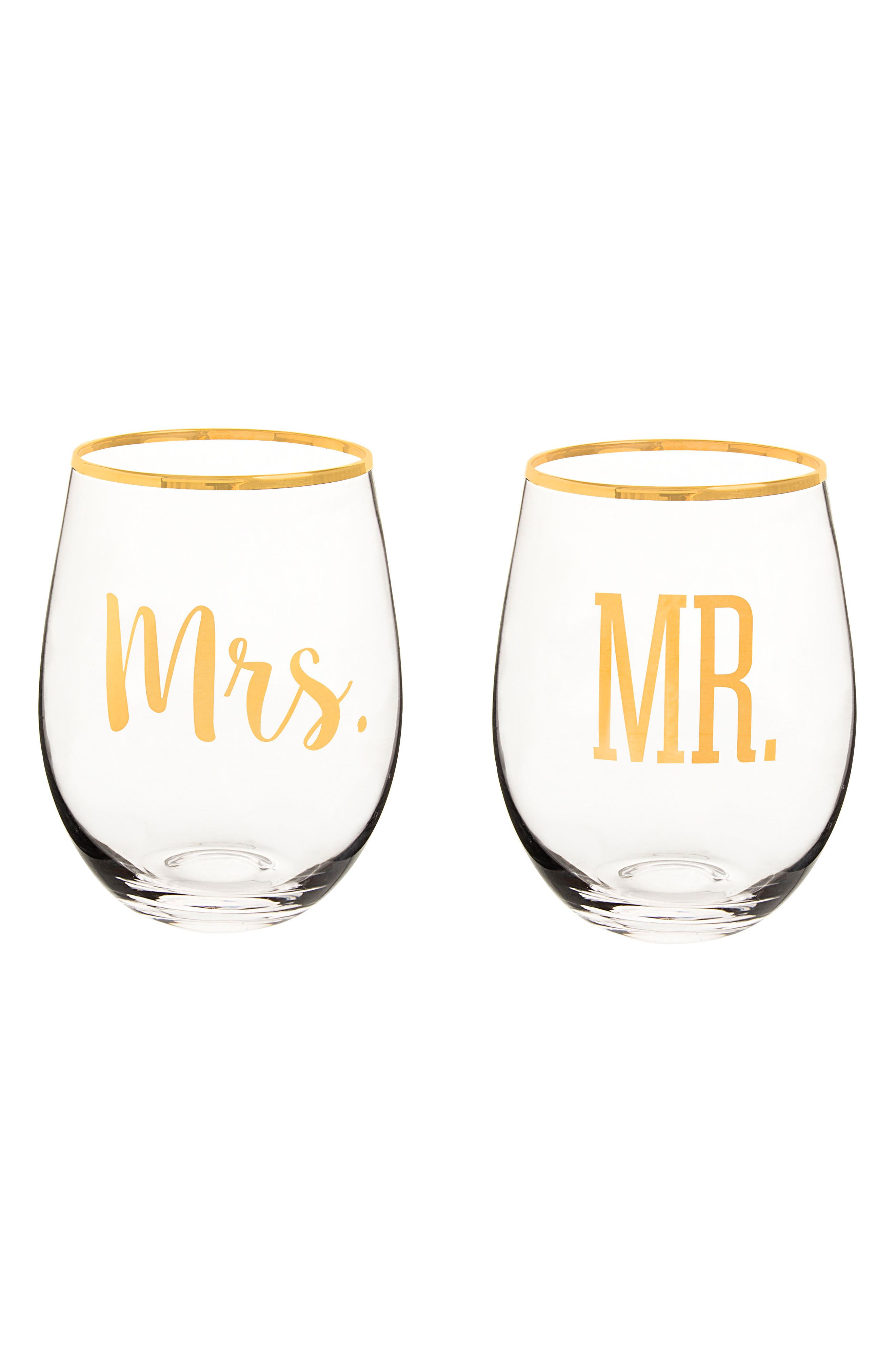 Mr. & Mrs. Set of 2 Stemless Wine Glasses,                         Main,                         color, 710