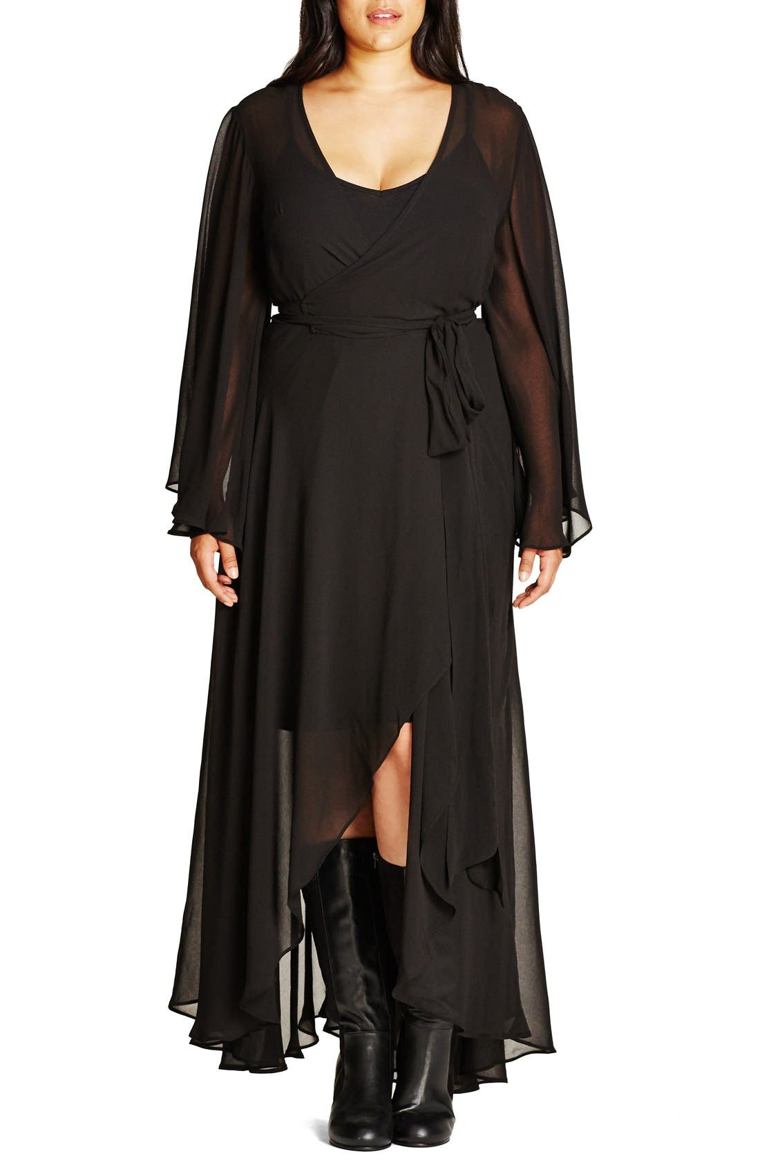 'Fleetwood' Maxi Dress, Main, color, BLACK
