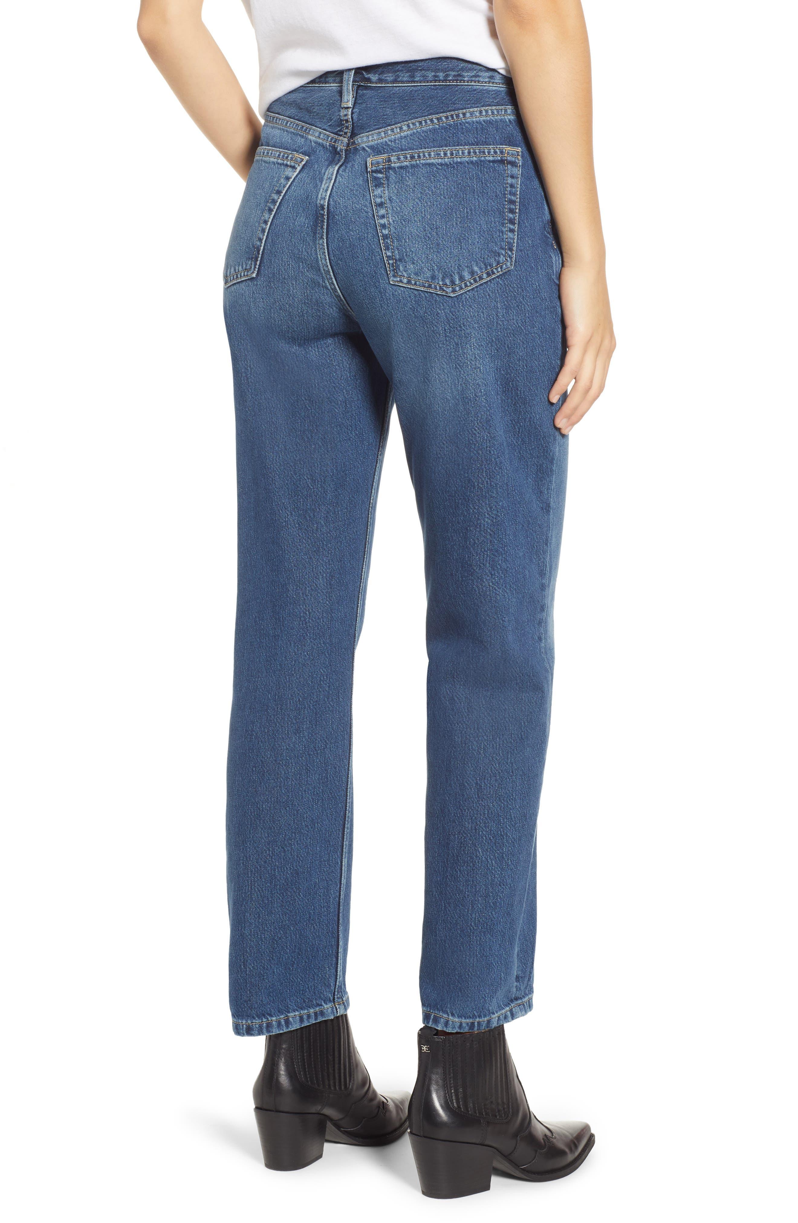 TOPSHOP,                             New Boyfriend Jeans,                             Alternate thumbnail 2, color,                             MID BLUE