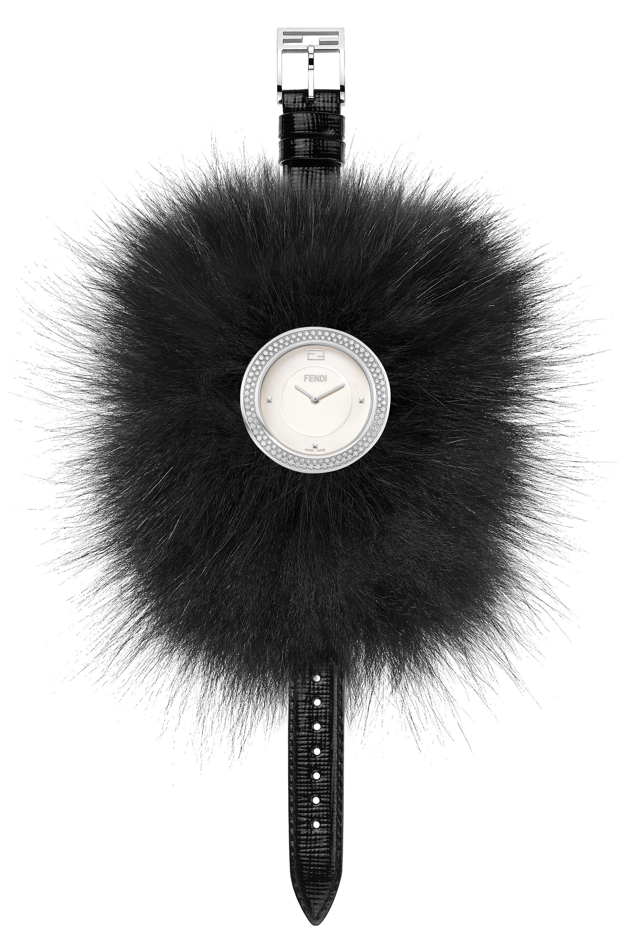 My Way Genuine Fox Fur Leather Strap Watch, 36mm,                             Alternate thumbnail 2, color,                             100