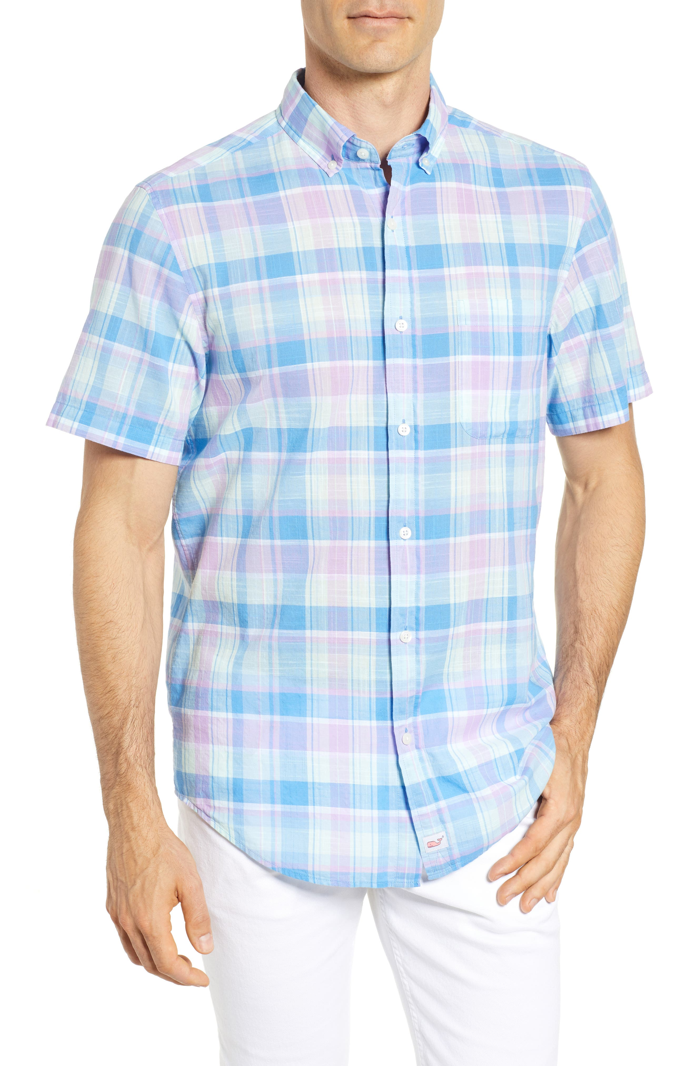 Lagoon Pond Classic Fit Plaid Sport Shirt,                         Main,                         color, 526