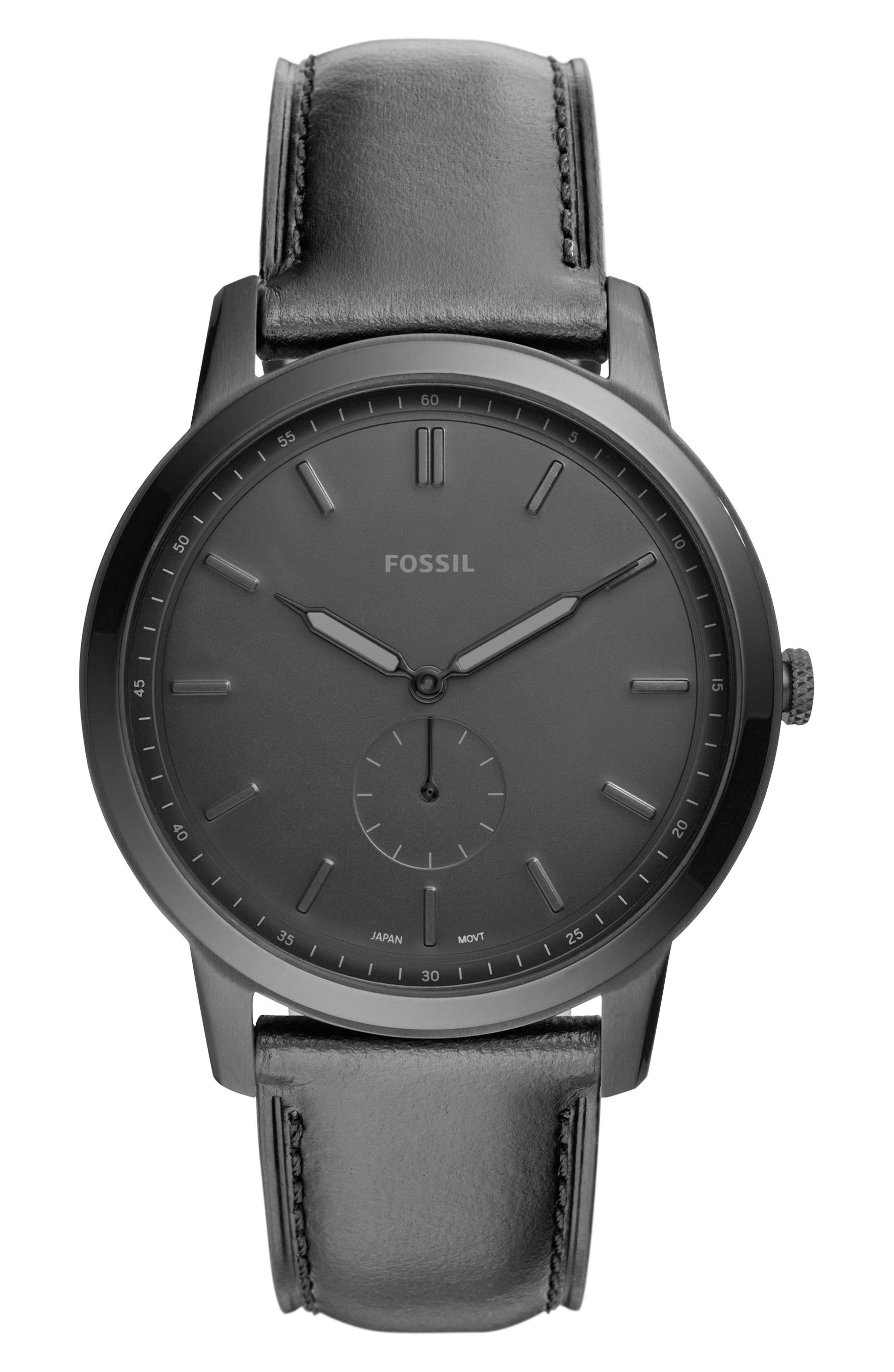 Minimalist Leather Strap Watch, 44mm,                         Main,                         color, 001