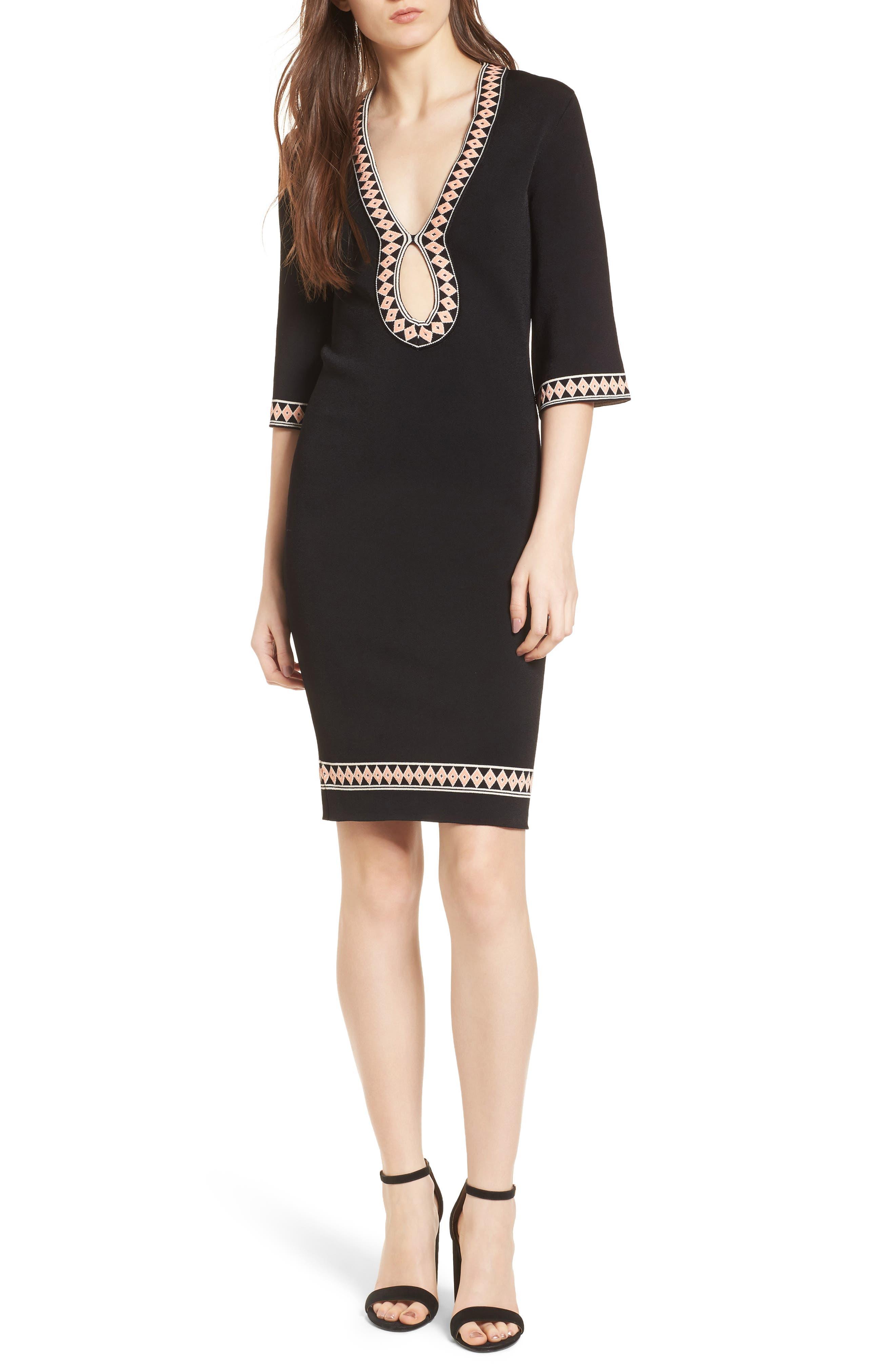 Body-Con Knit Dress,                         Main,                         color, BLACK