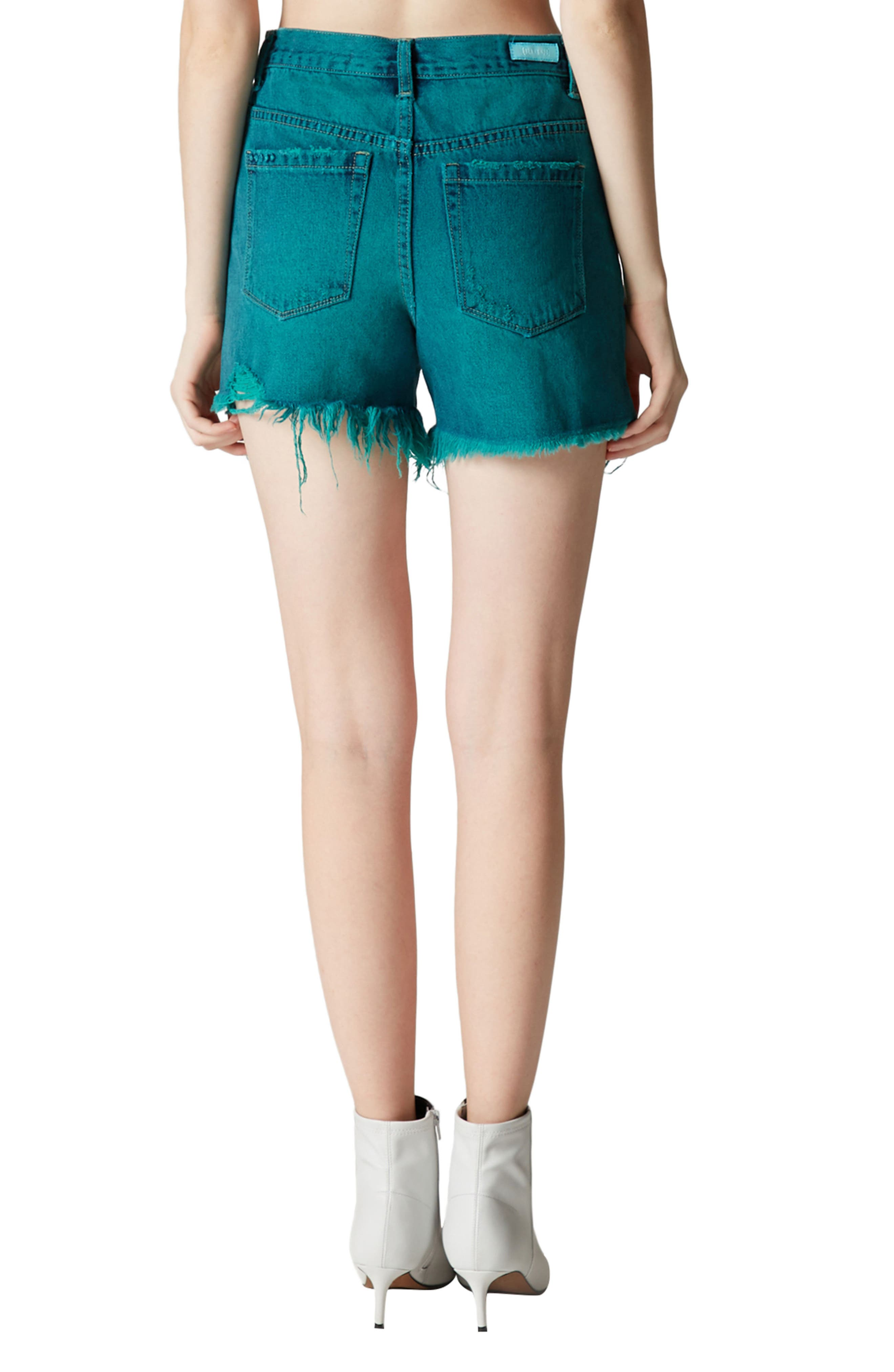 Shredded Cutoff Denim Shorts,                             Alternate thumbnail 3, color,