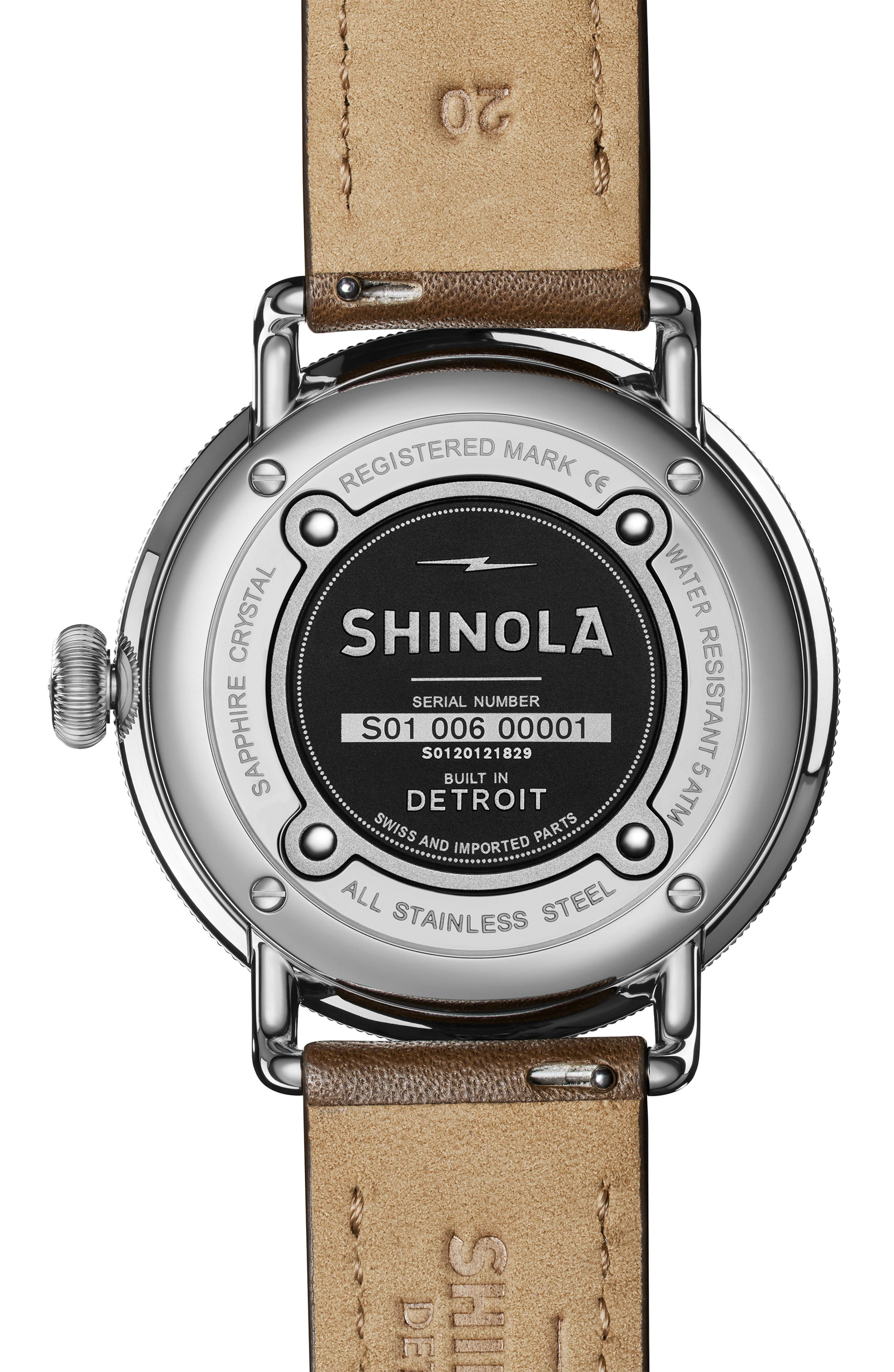 The Canfield Leather Strap Watch, 45mm,                             Alternate thumbnail 2, color,                             DK BROWN/ALBSTER WHT/SILV