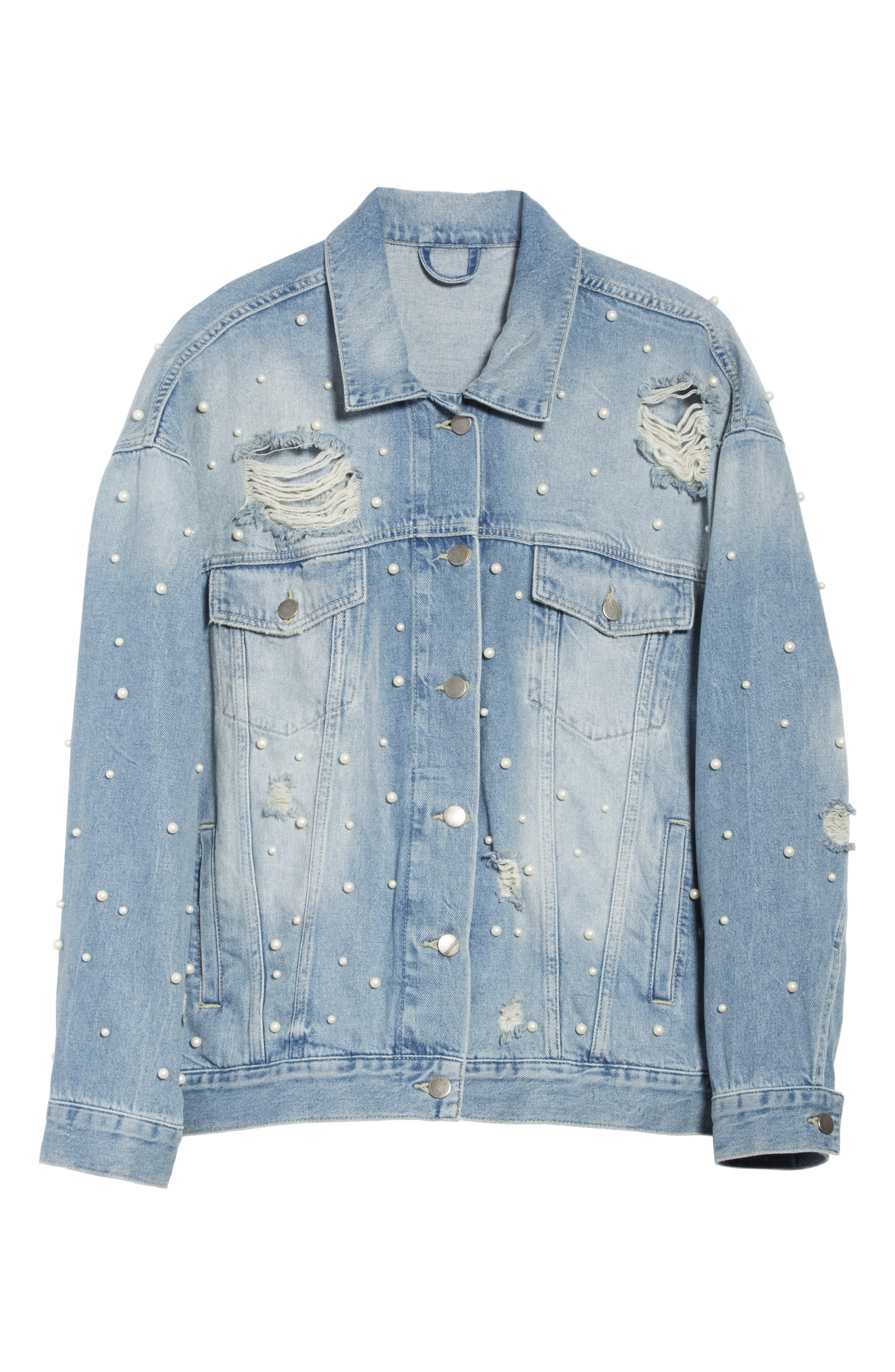 We the Free by Free People Sunday Funday Denim Trucker Jacket,                             Alternate thumbnail 5, color,                             403
