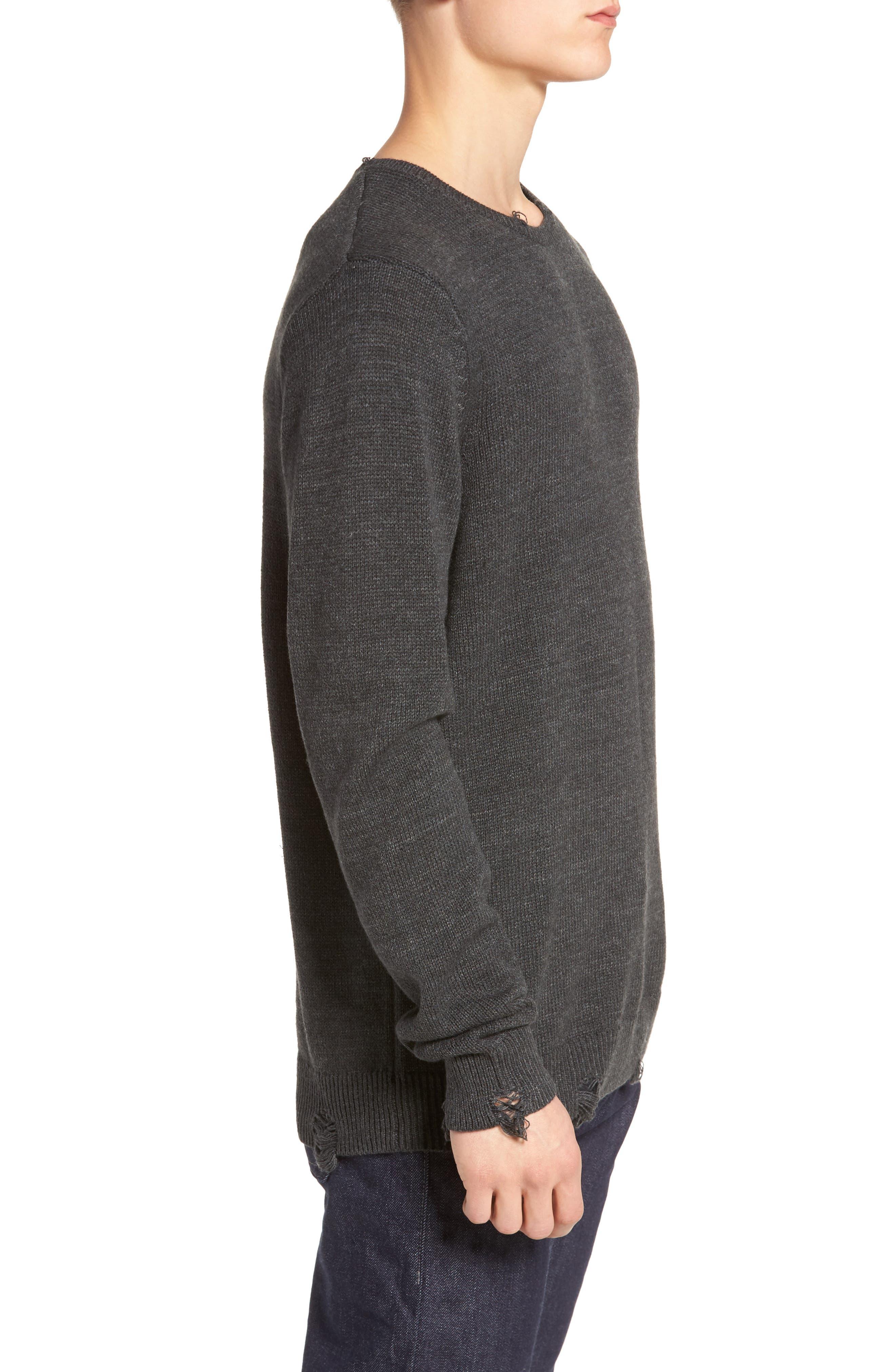 Destroyed Crewneck Sweater,                             Alternate thumbnail 3, color,                             030