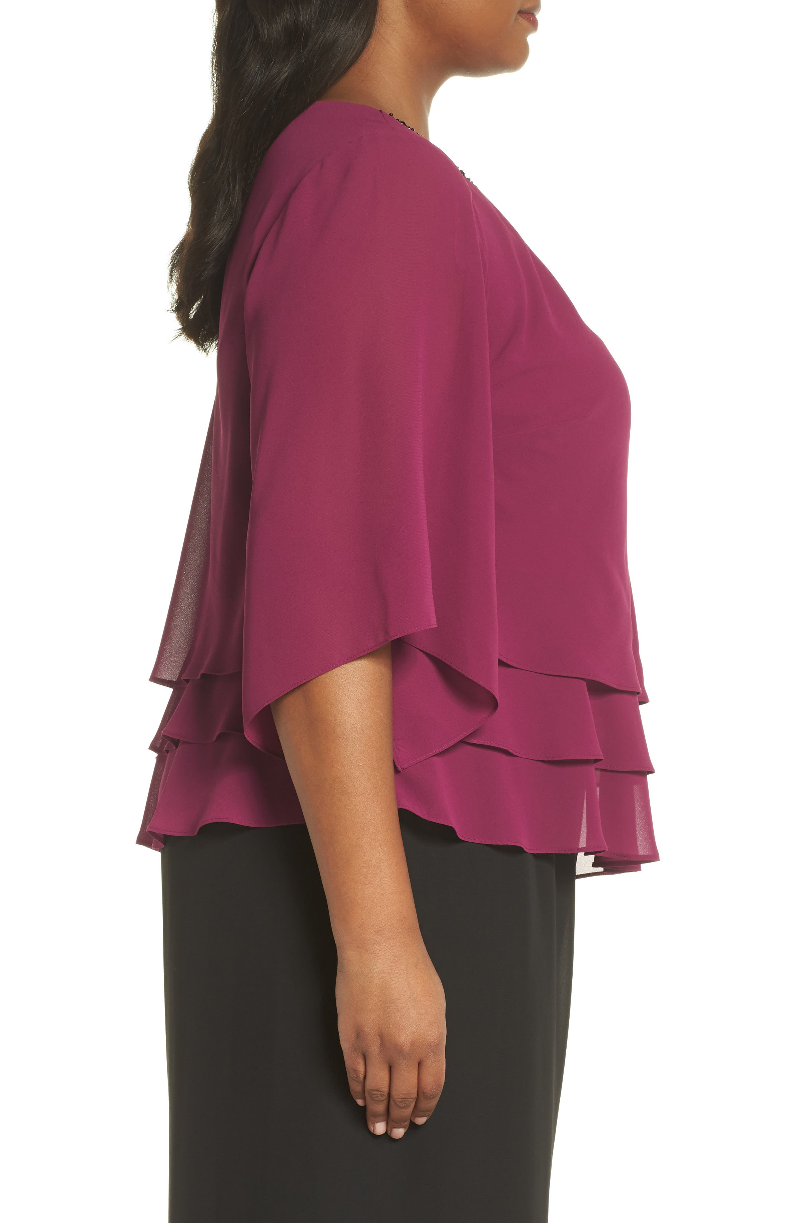 Embellished Tiered Chiffon Top,                             Alternate thumbnail 3, color,                             ALALEA