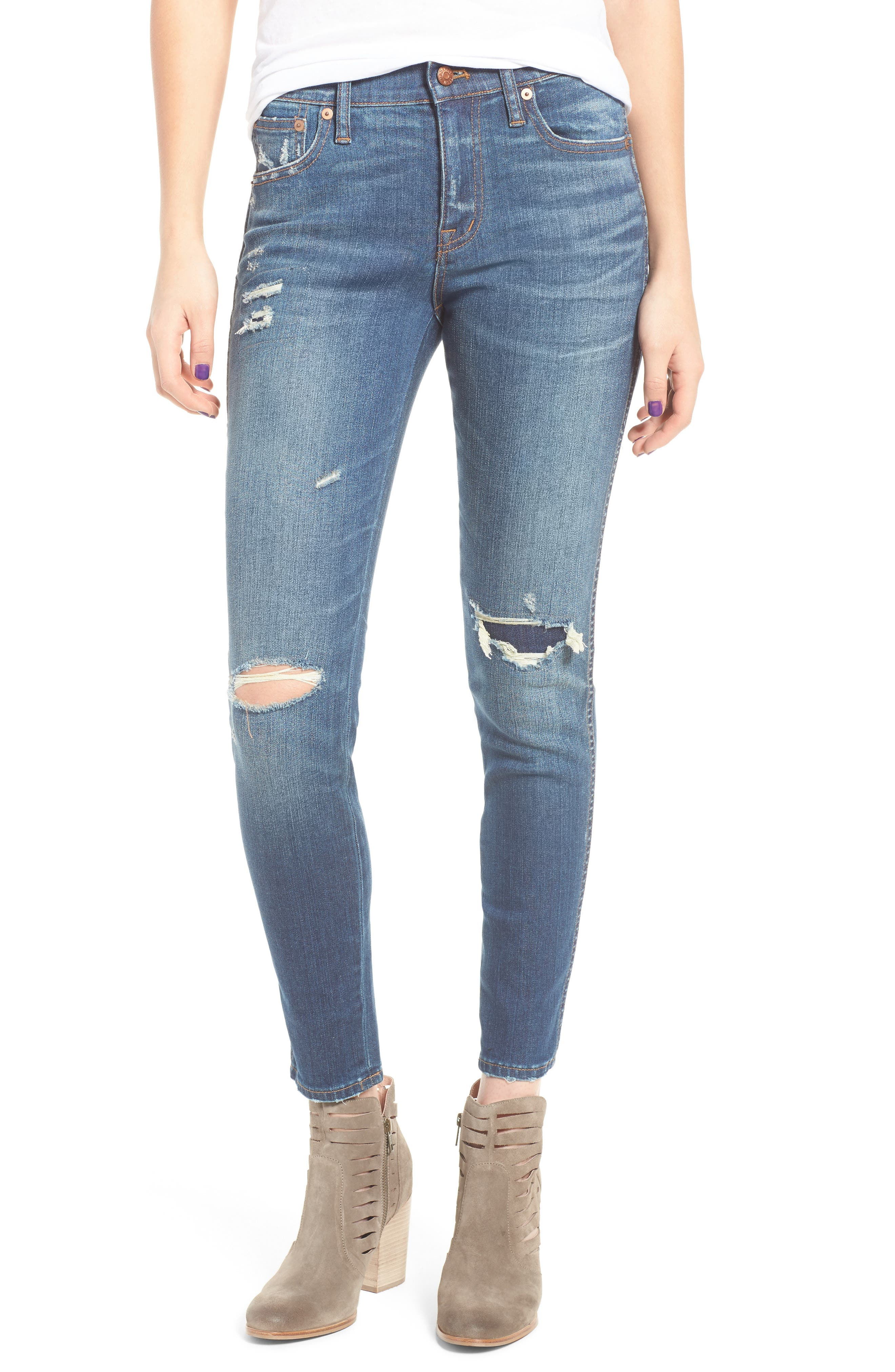 High 9-Inch High-Rise Skinny Jeans: Ripped and Patched Edition,                             Main thumbnail 1, color,