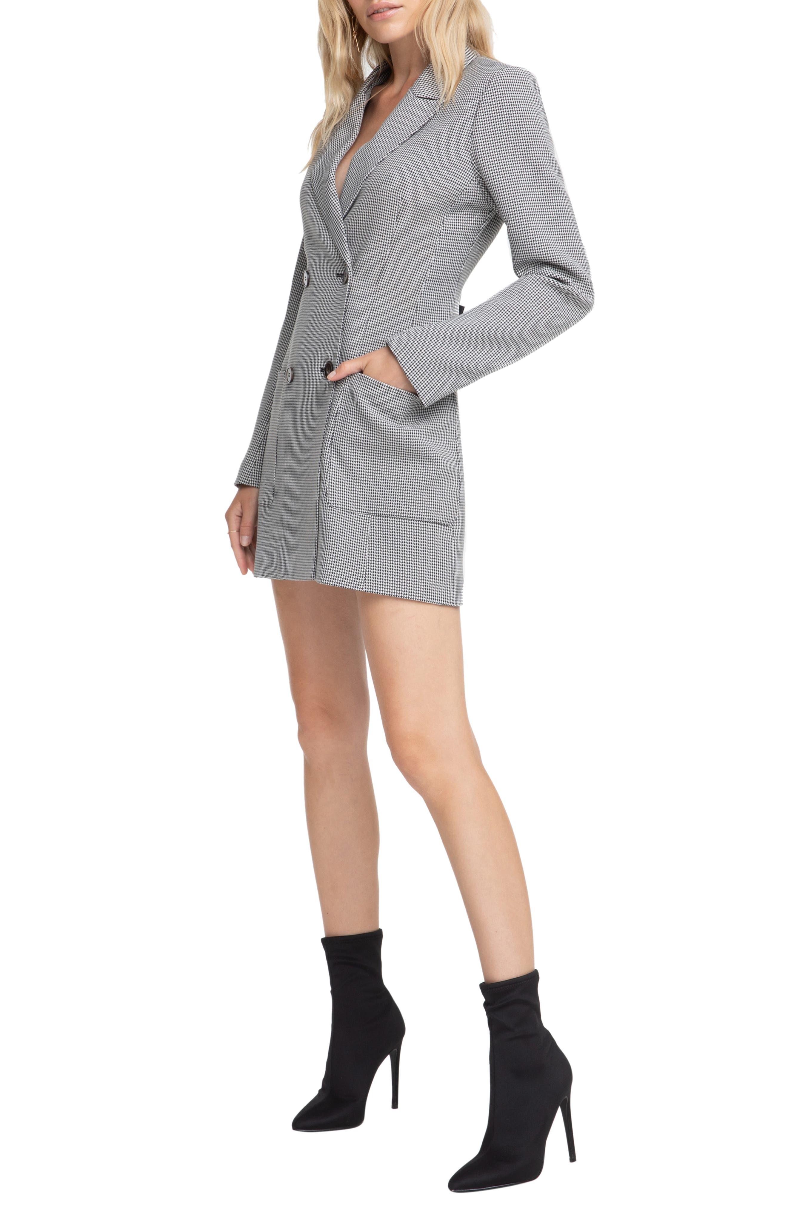 ASTR THE LABEL,                             Houndstooth Blazer Dress,                             Alternate thumbnail 3, color,                             BLACK/ WHITE