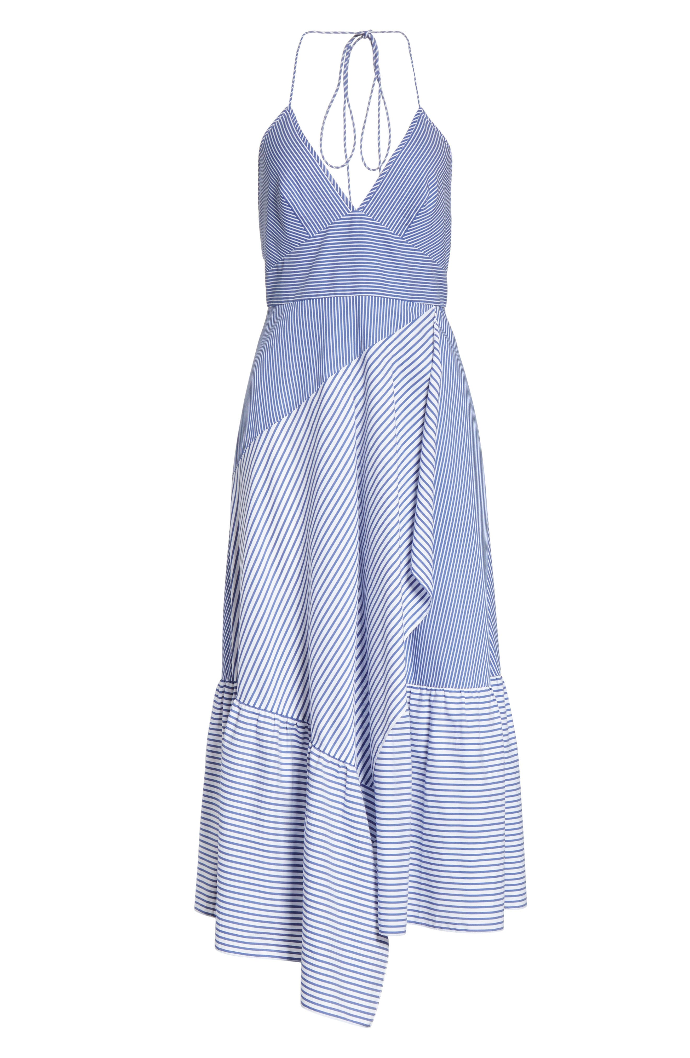 Colorblock Collage Stripe Halter Dress,                             Alternate thumbnail 6, color,                             400