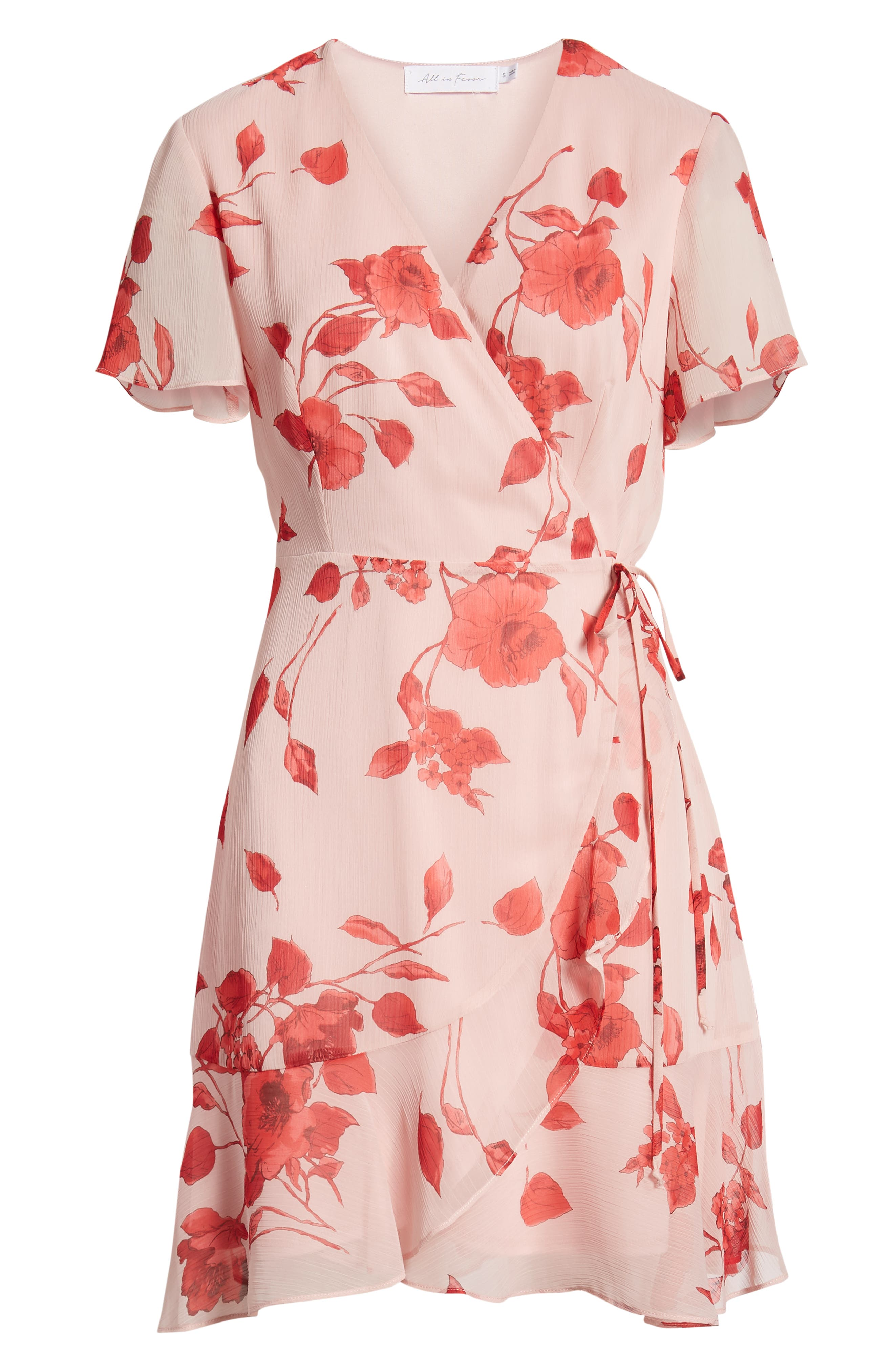 ALL IN FAVOR,                             Isabella Wrap Dress,                             Alternate thumbnail 7, color,                             RED PAINTED FLORAL