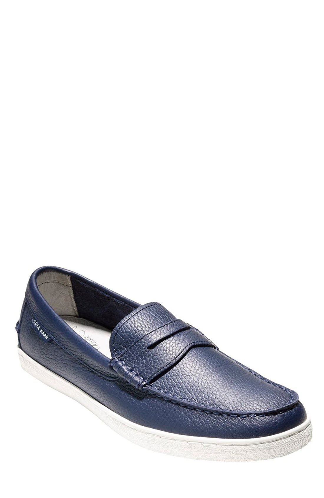 'Pinch' Penny Loafer,                         Main,                         color, PEACOAT LEATHER/ WHITE