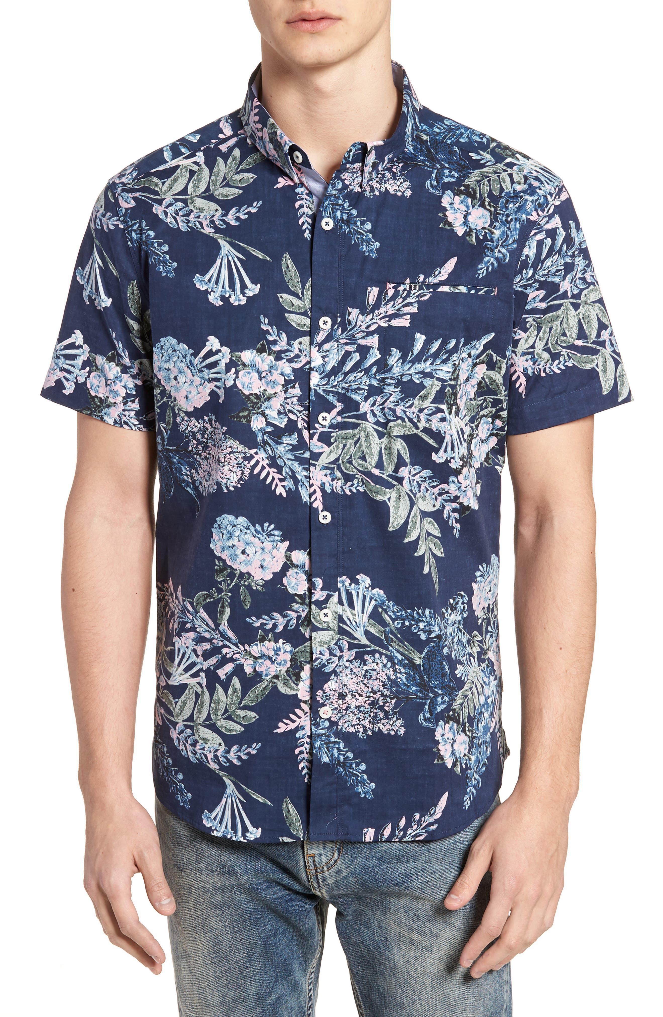 Conversation Peace Floral Sport Shirt,                         Main,                         color, 440